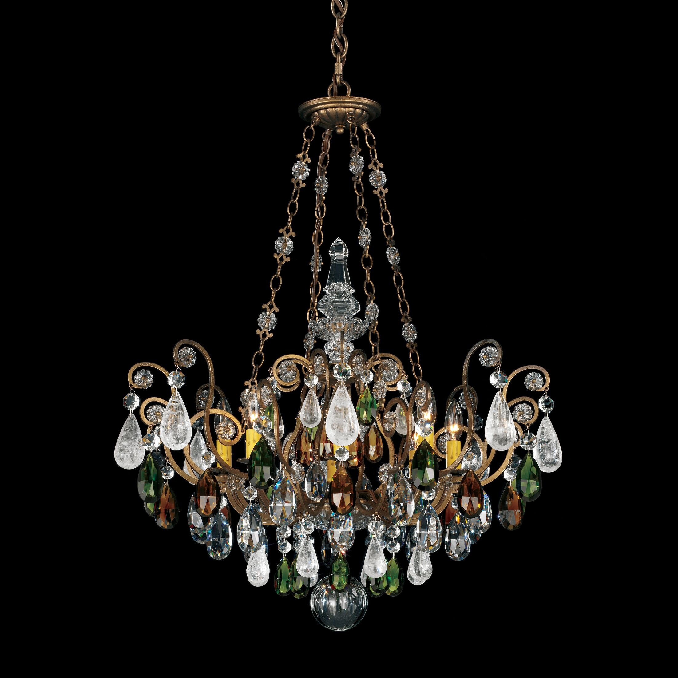 Renaissance Rock 8-Light Chandelier Finish / Crystal Color: Heirloom Gold / Combination of Olive and Smoke