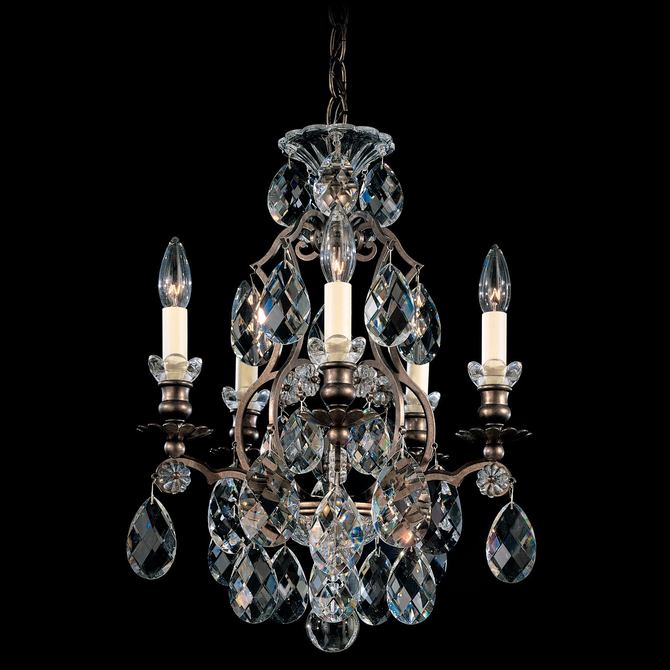 Renaissance 5-Light Chandelier Crystal Type: Swarovski Elements Clear, Finish: Heirloom Bronze