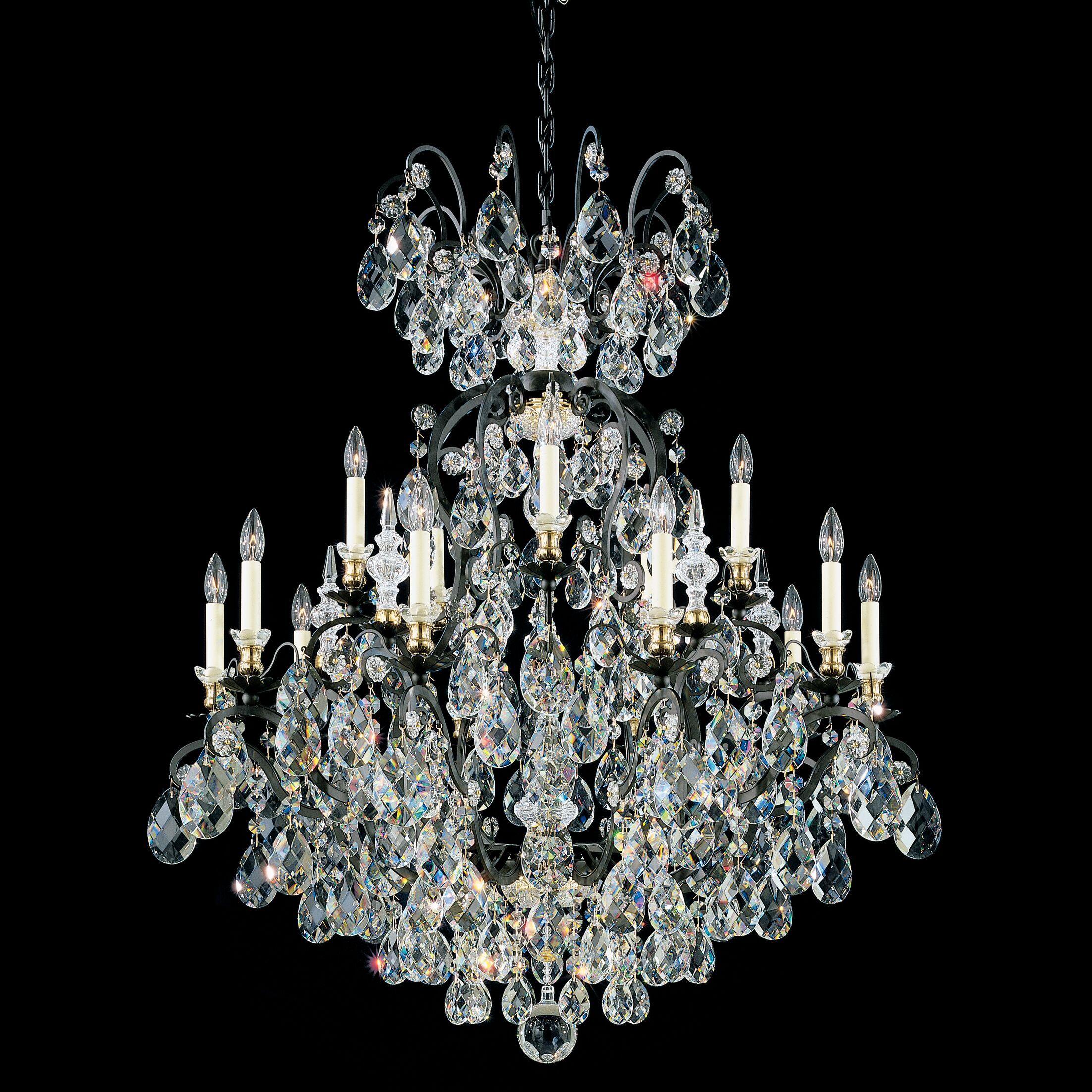 Renaissance 15-Light Chandelier Finish / Crystal Color: Antique Silver / Strass Golden Teak