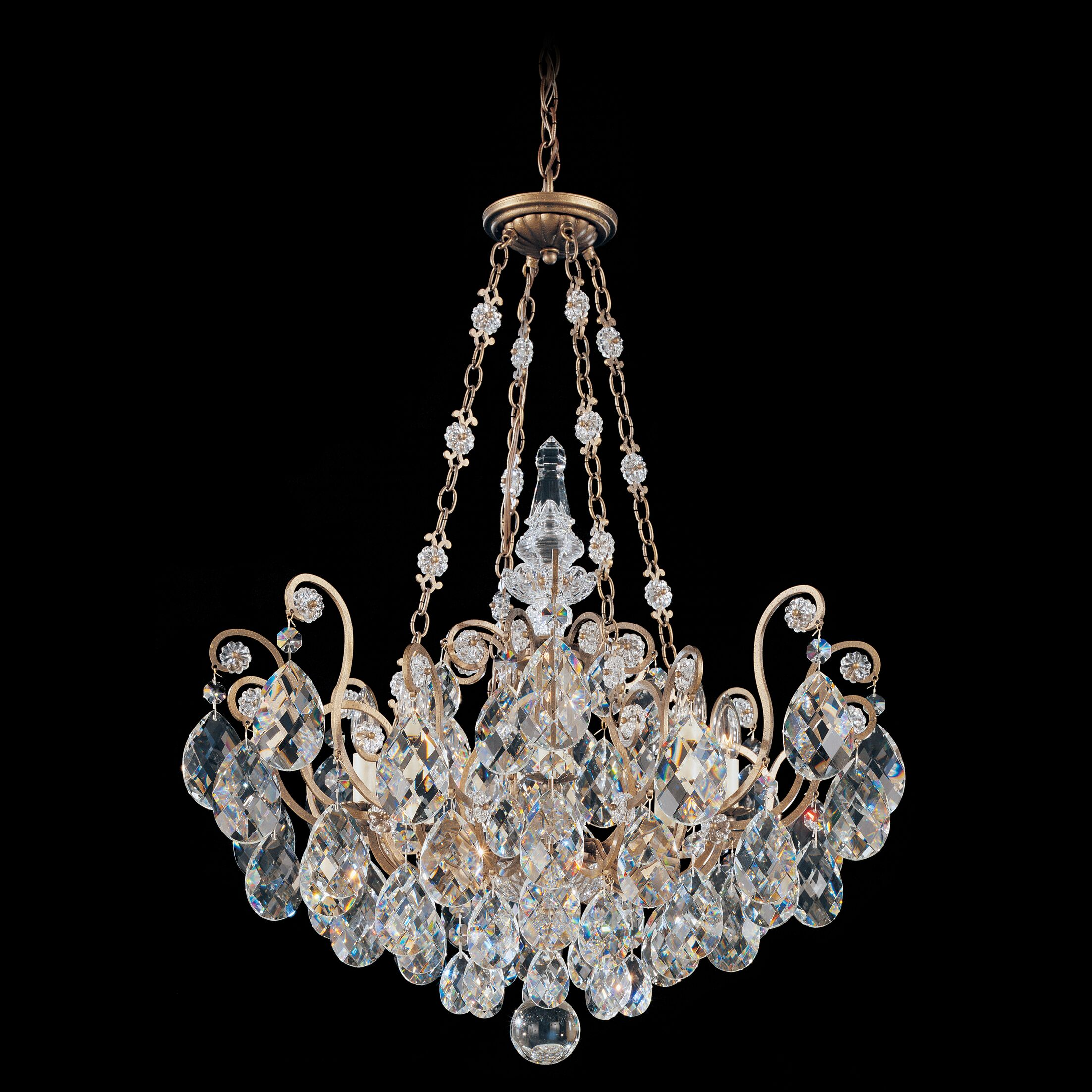 Renaissance 8-Light Candle Style Chandelier Finish / Crystal Color: Etruscan Gold / Handcut Clear