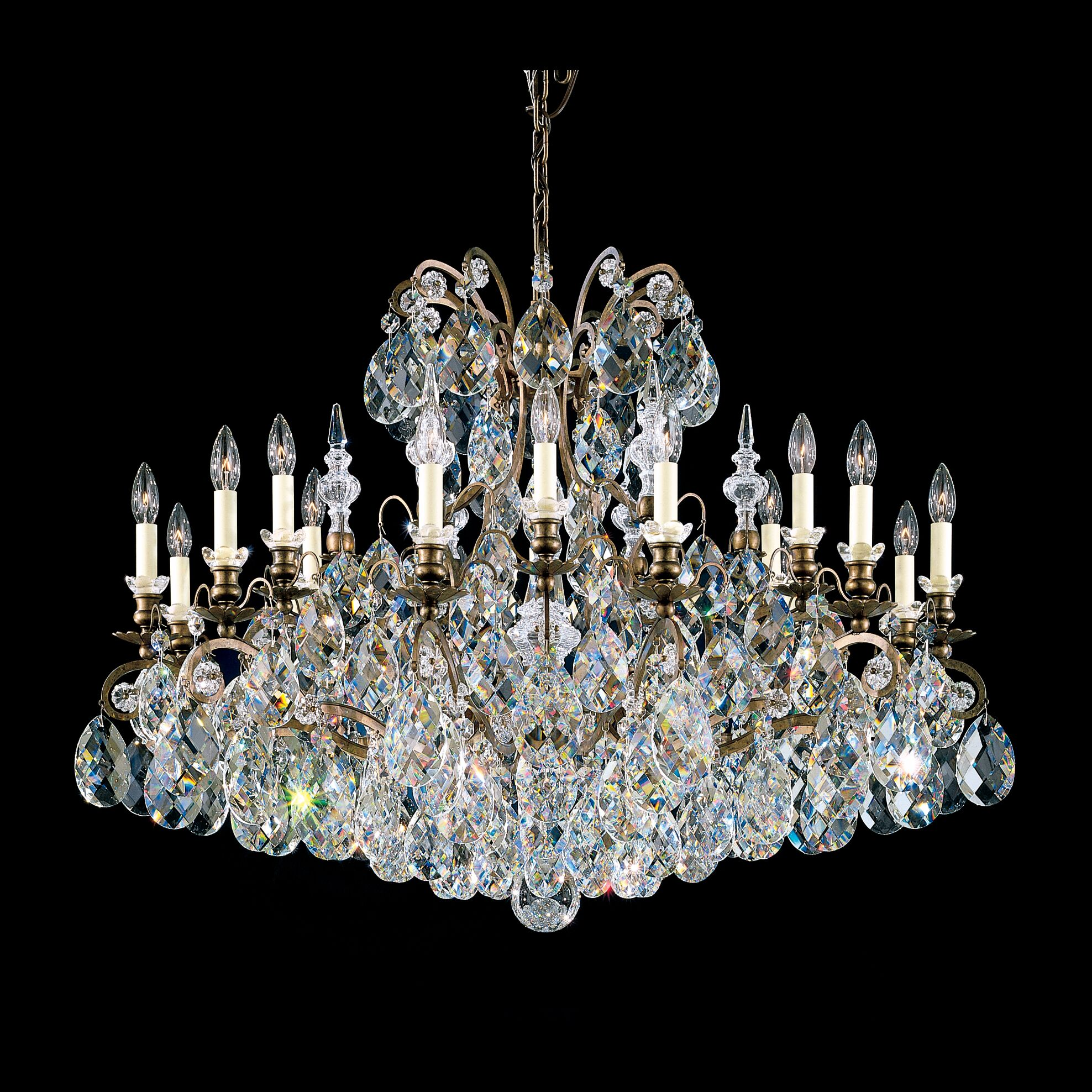 Renaissance 18-Light Chandelier Finish / Crystal Color: Heirloom Bronze / Handcut Clear