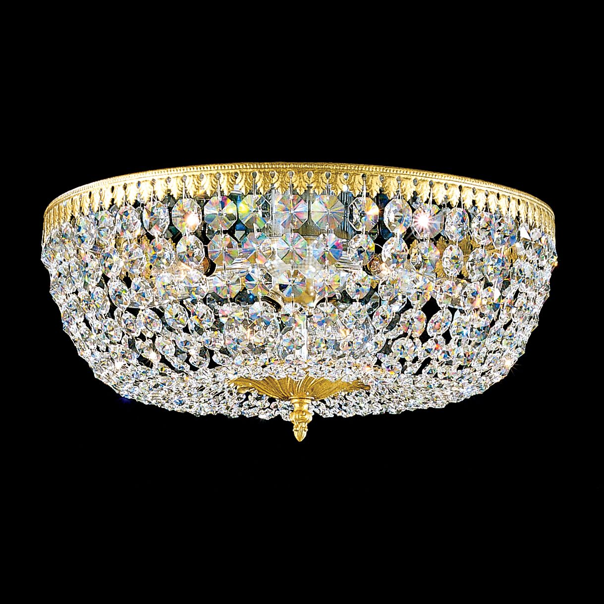 Rialto 8-Light Flush Mount Crystal Type: Swarovski Spectra, Finish: Parchment Bronze