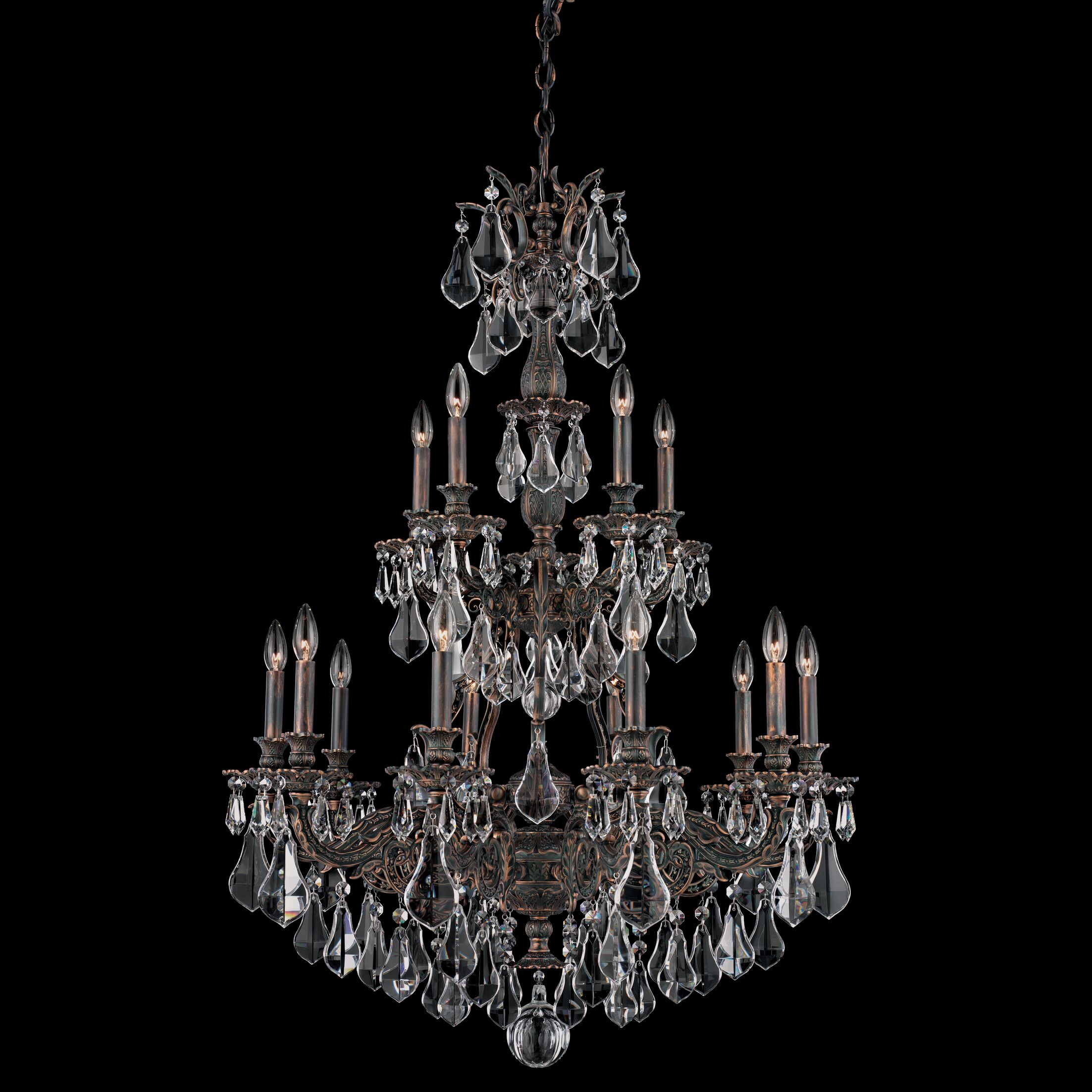 Sophia 15-Light Chandelier Finish: Roman Silver, Crystal Color: Strass Golden Teak