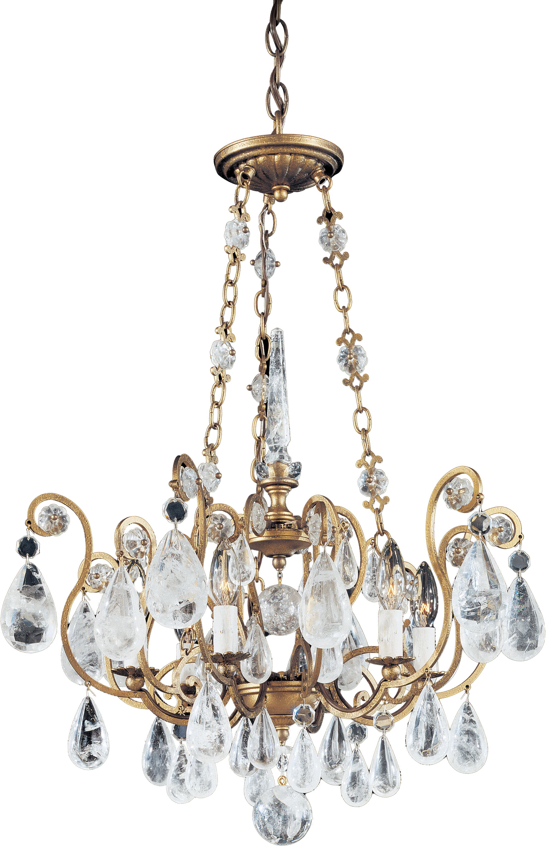 Versailles Rock Crystal 6-Light Candle Style Chandelier Finish: French Gold, Crystal: Rock Crystal Clear