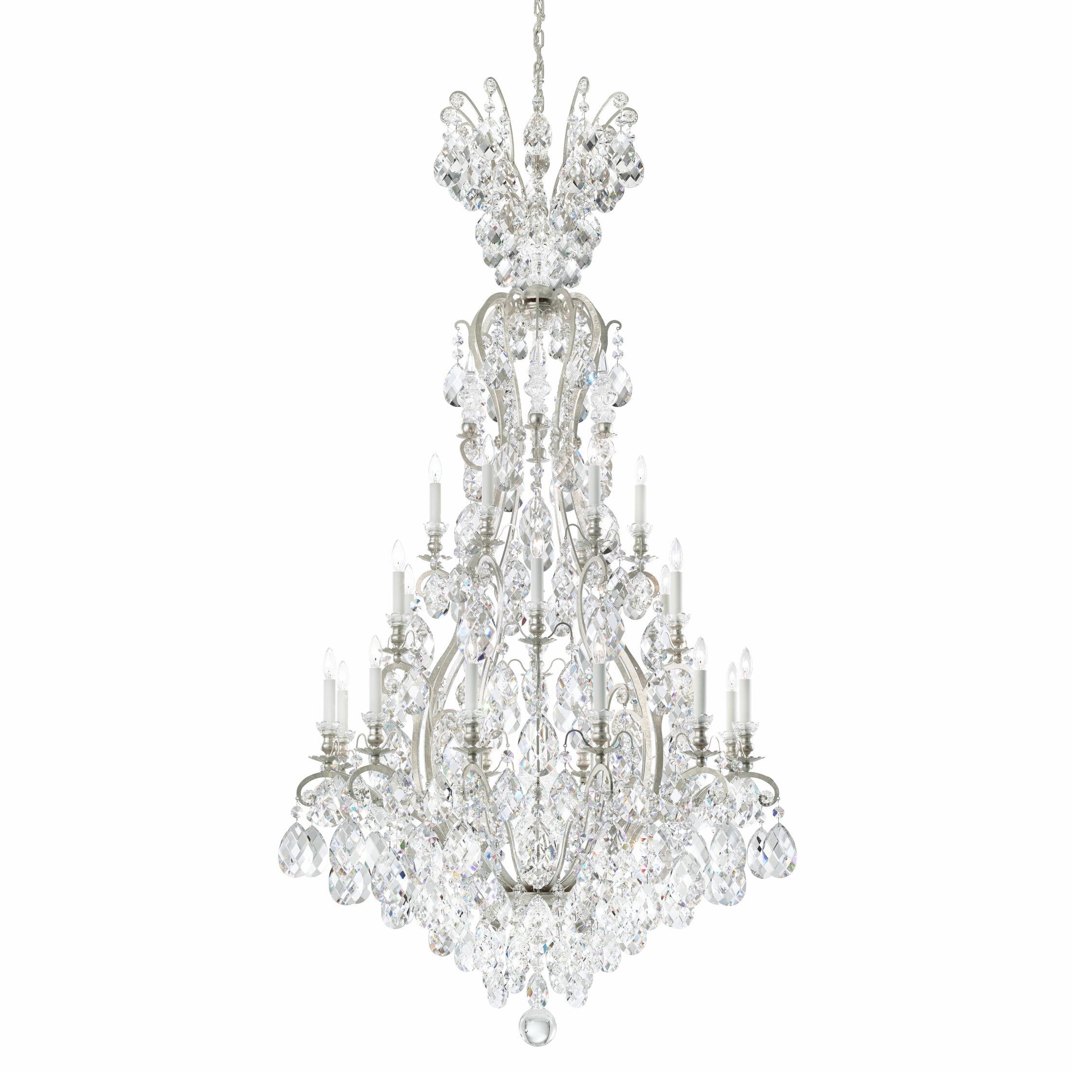 Renaissance 24-Light Candle Style Chandelier Crystal Grade: Clear from Swarovski, Finish: Black