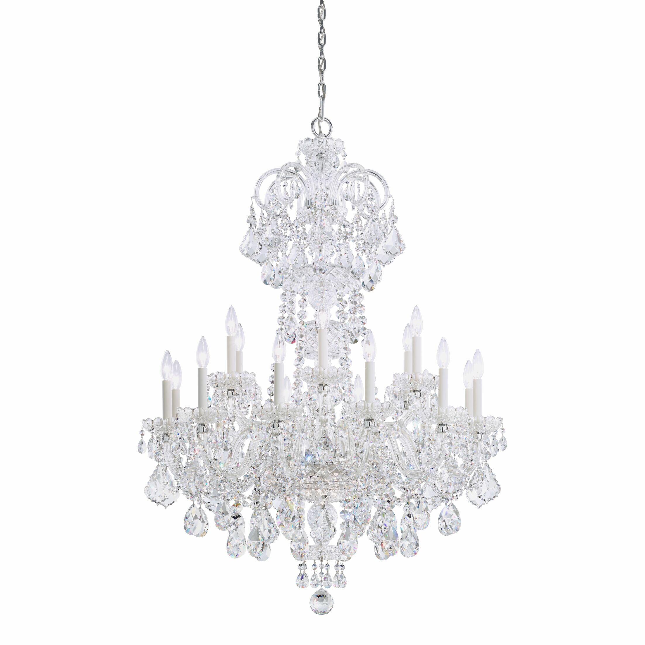 Olde World 18-Light Chandelier Color: Silver, Crystal Color: Spectra Swarovski