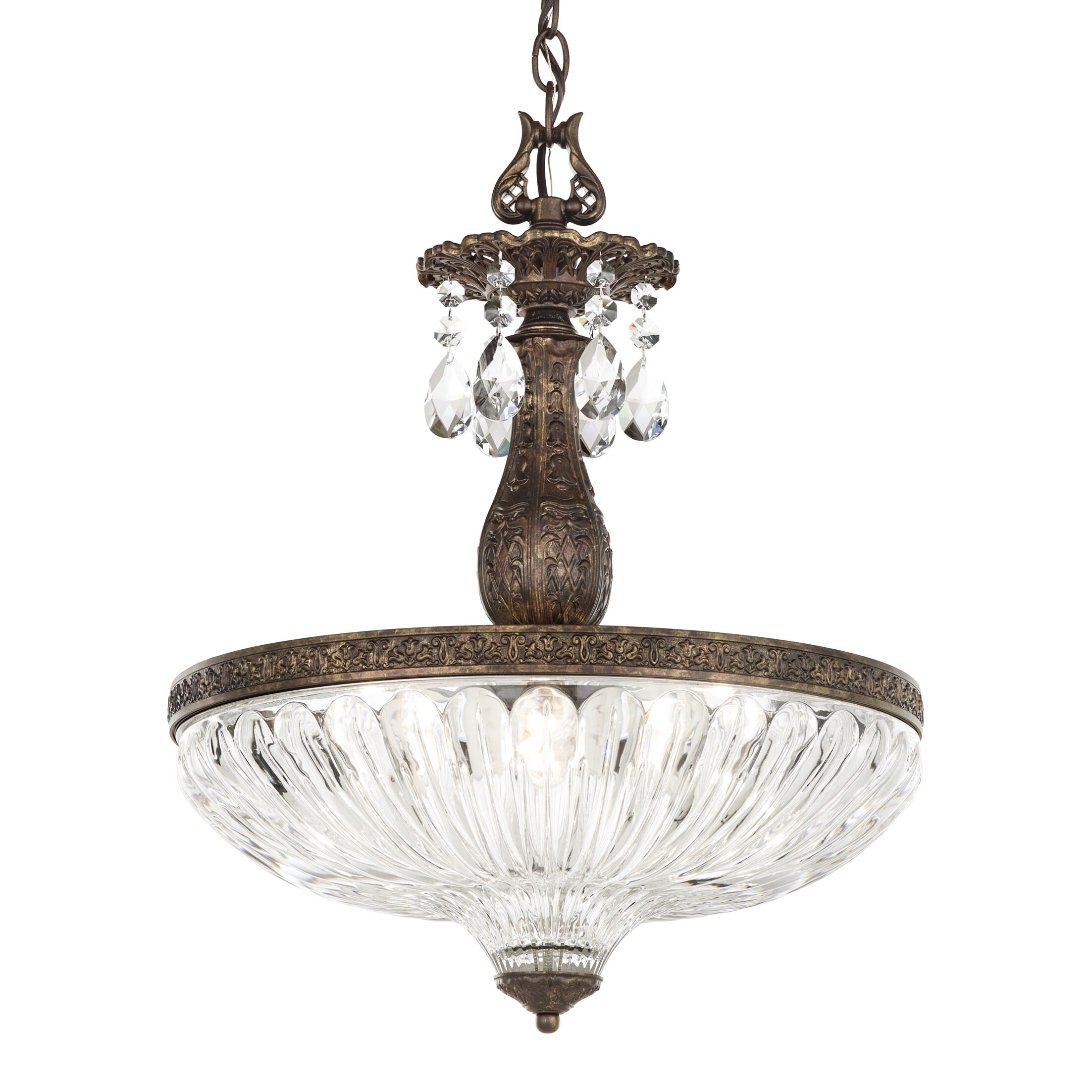 Milano 4-Light Bowl Pendant Finish: Parchment Gold, Crystal Color: Optic Clear