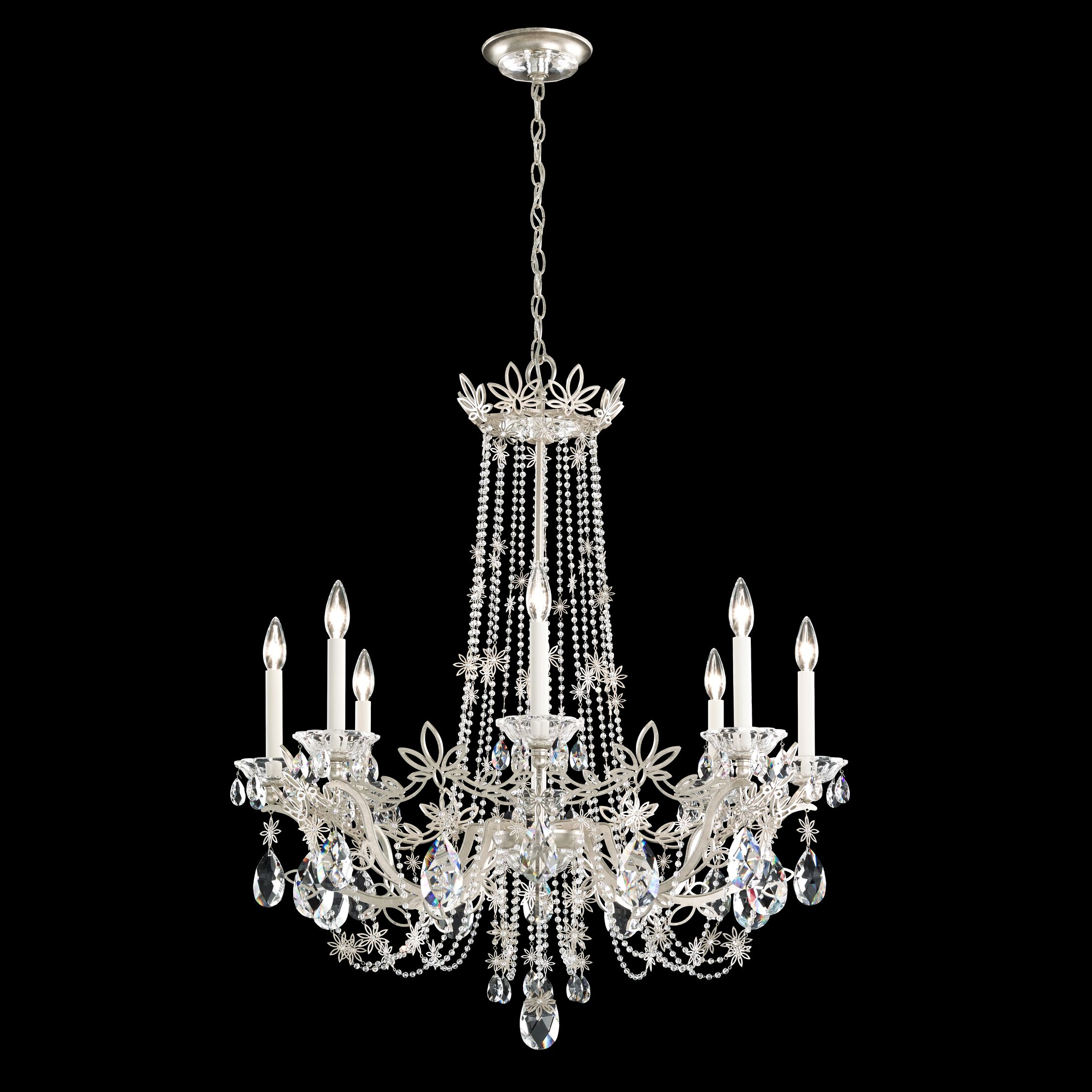 Florabella 8-Light Chandelier Crystal Grade: Heritage, Finish: Antique Silver