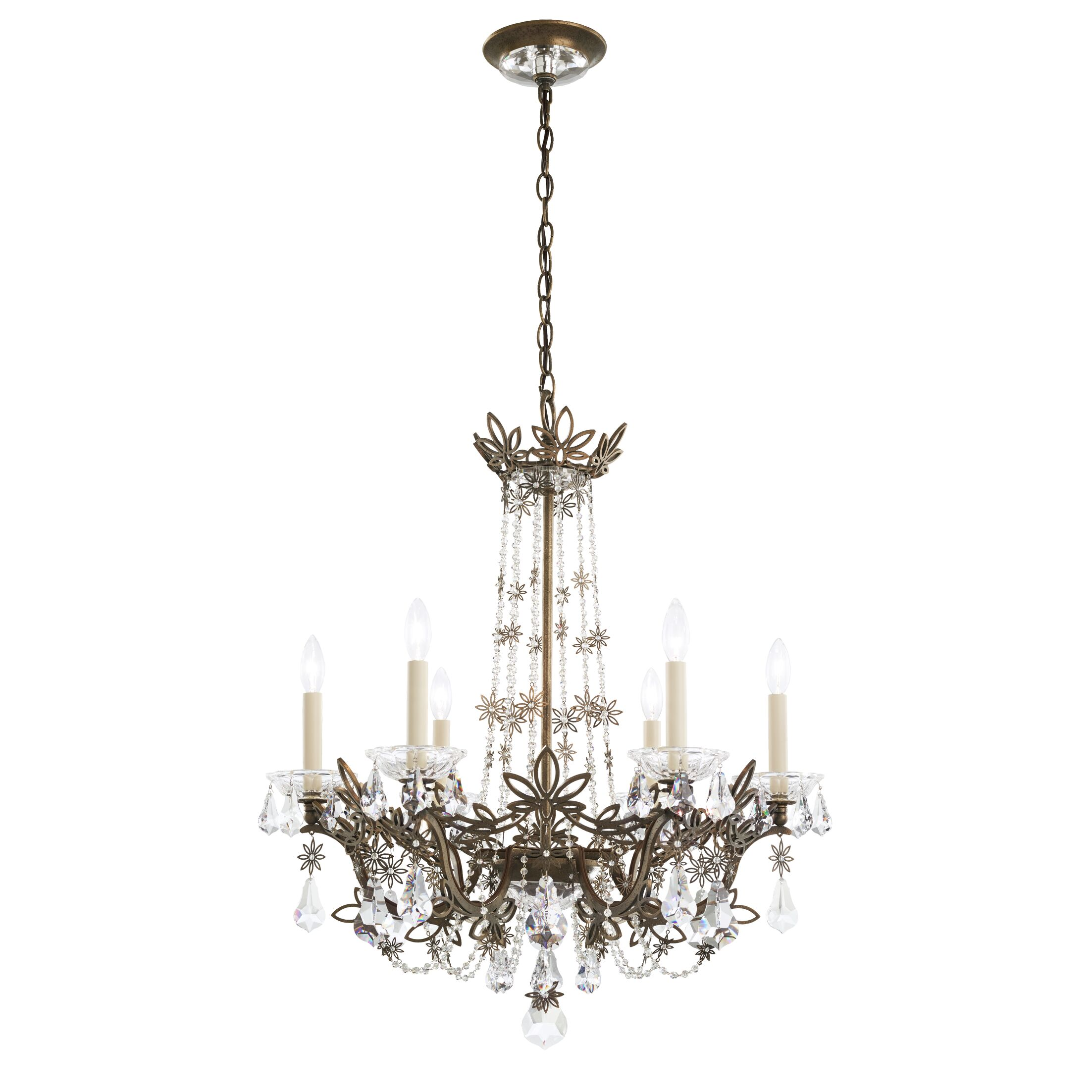 Florabella 6-Light Chandelier Crystal Grade: Heritage, Finish: Etruscan Gold