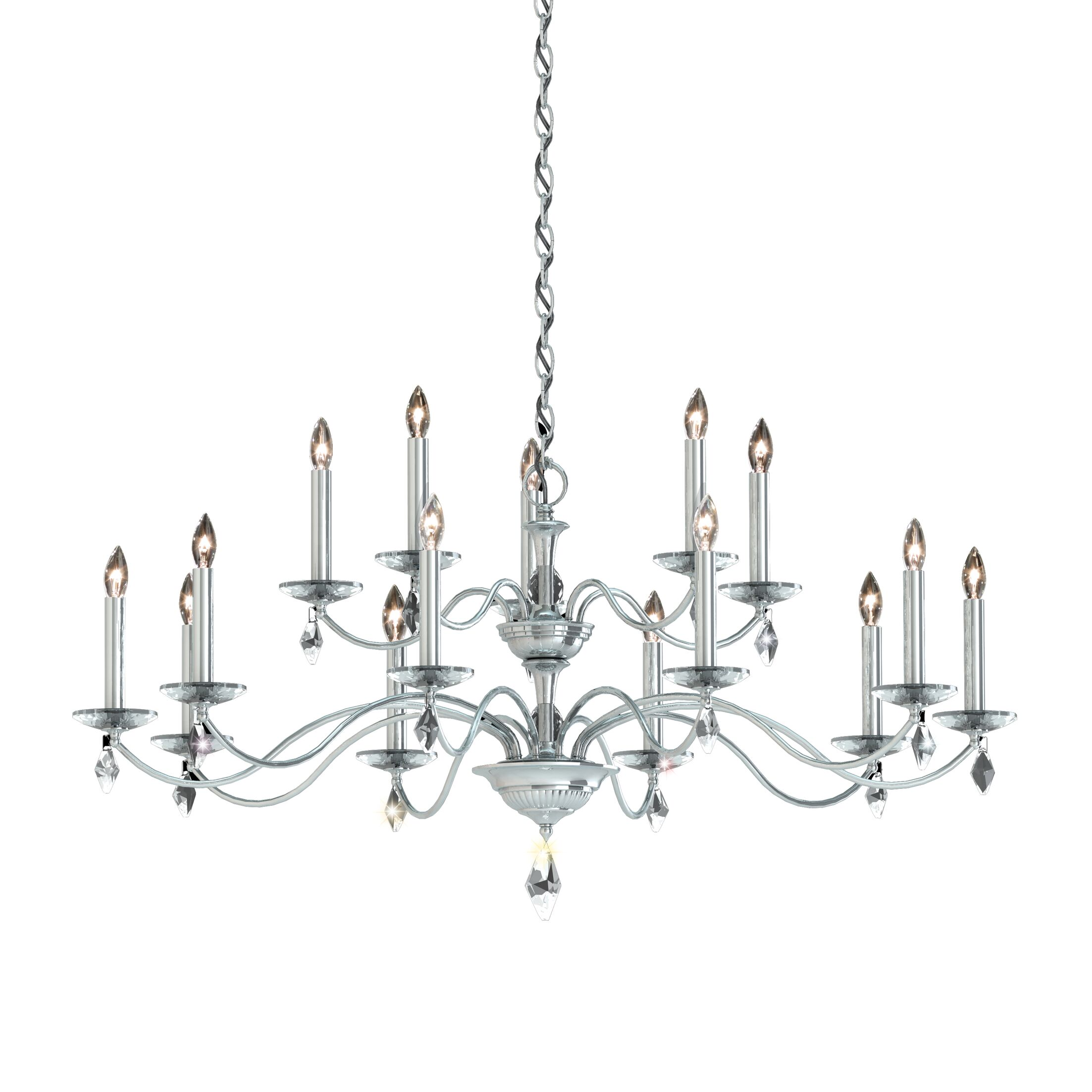 Modique 2 Tier 15-Light Chandelier Crystal Grade: Swarovski�, Finish: Ferro Black