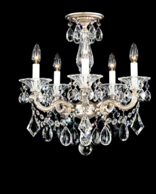 La Scala 5-Light Chandelier Finish / Crystal Grade: Antique Silver / Swarovski Clear