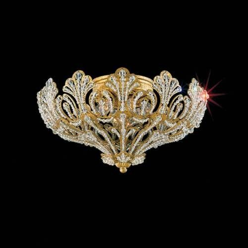 Rivendell 5-Light Flush Mount Finish: French Gold, Crystal Grade: Spectra Crystal Clear