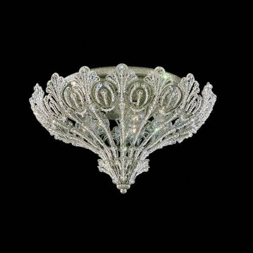 Rivendell 9-Light Flush Mount Finish: Antique Silver, Crystal Grade: Swarovski Spectra