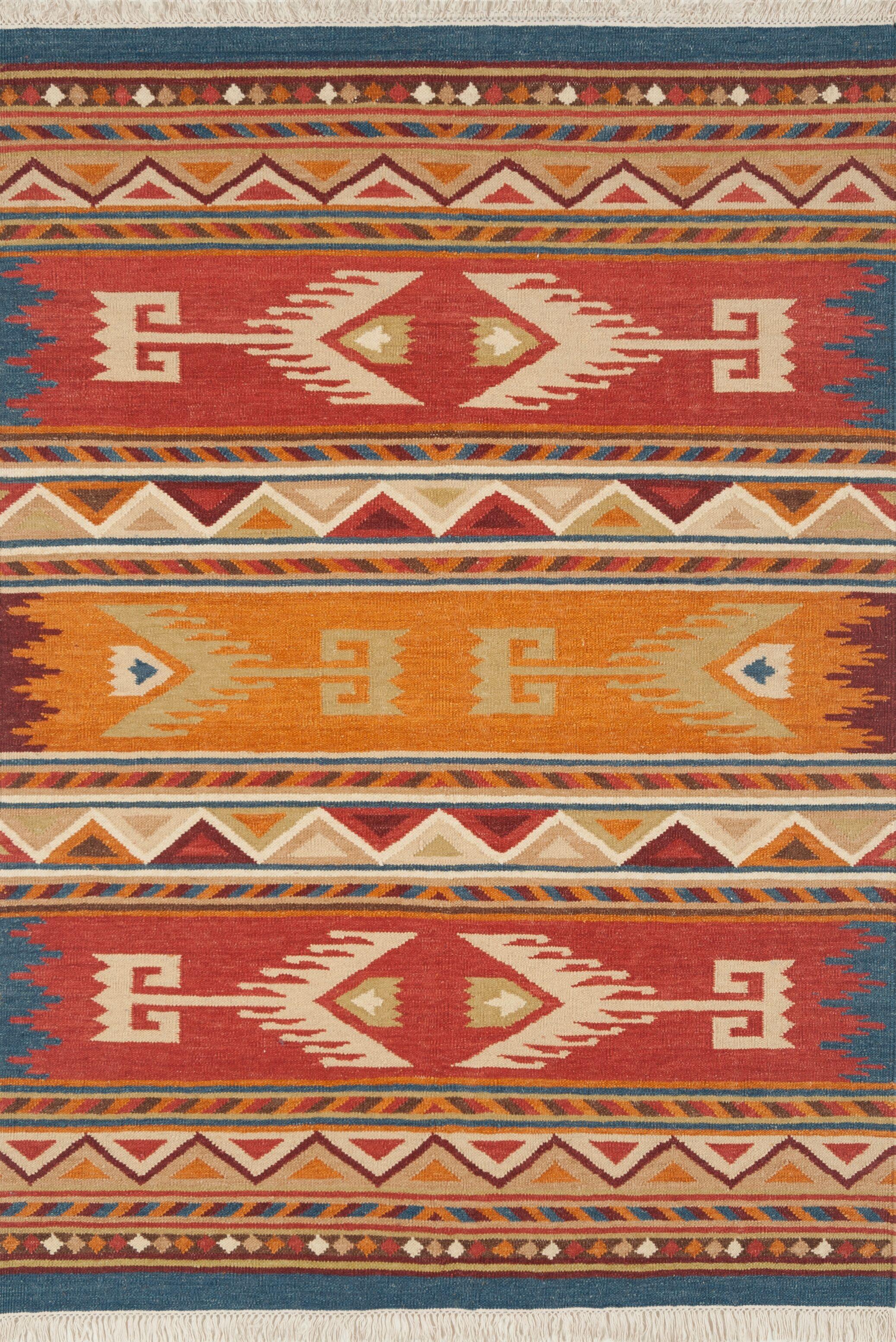 Lodge Hand-Woven Flatweave Wool Red/Orange Area Rug Rug Size: 8' x 10'