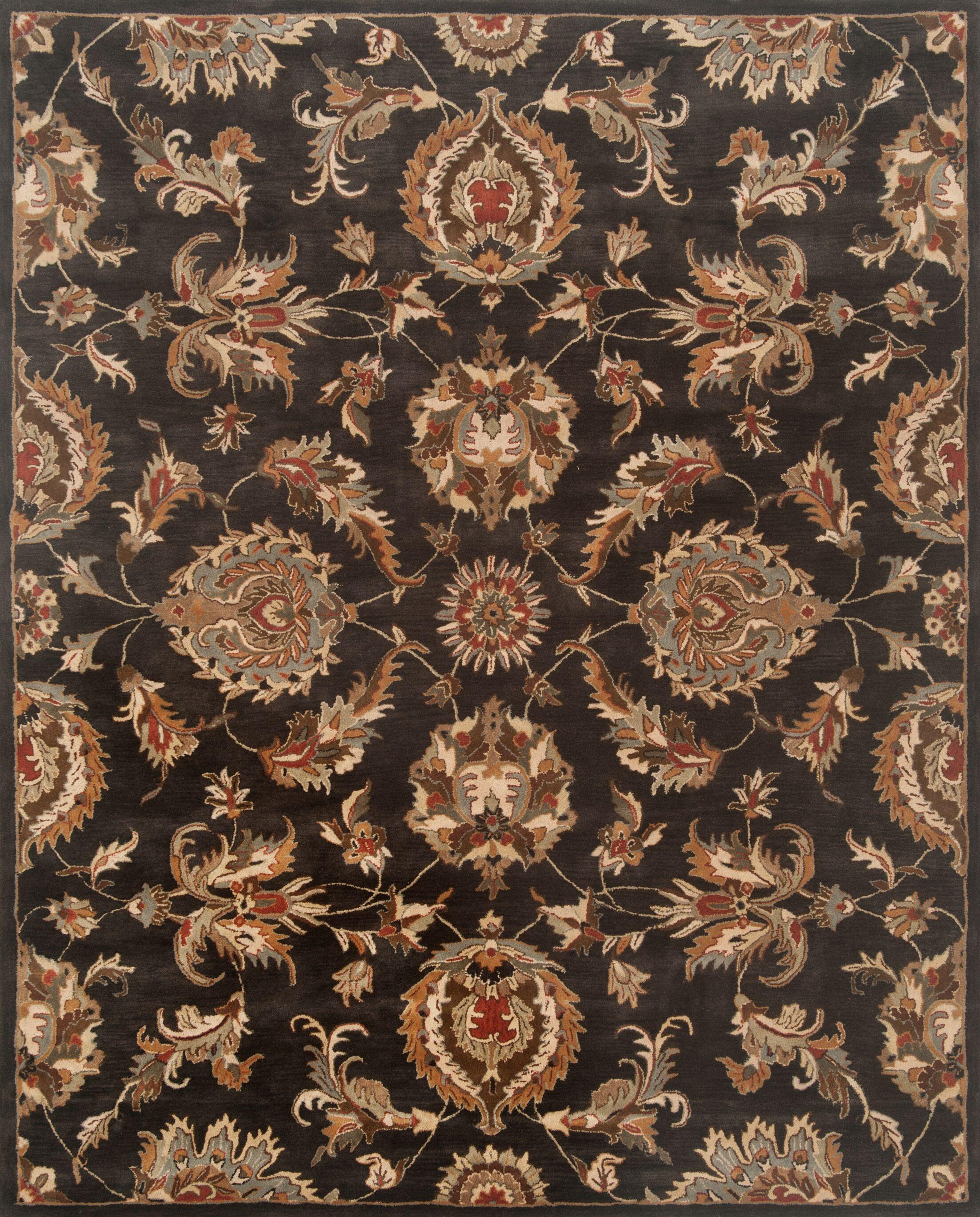 Serene Hand-Woven Wool Black Area Rug Rug Size: Runner 2'6