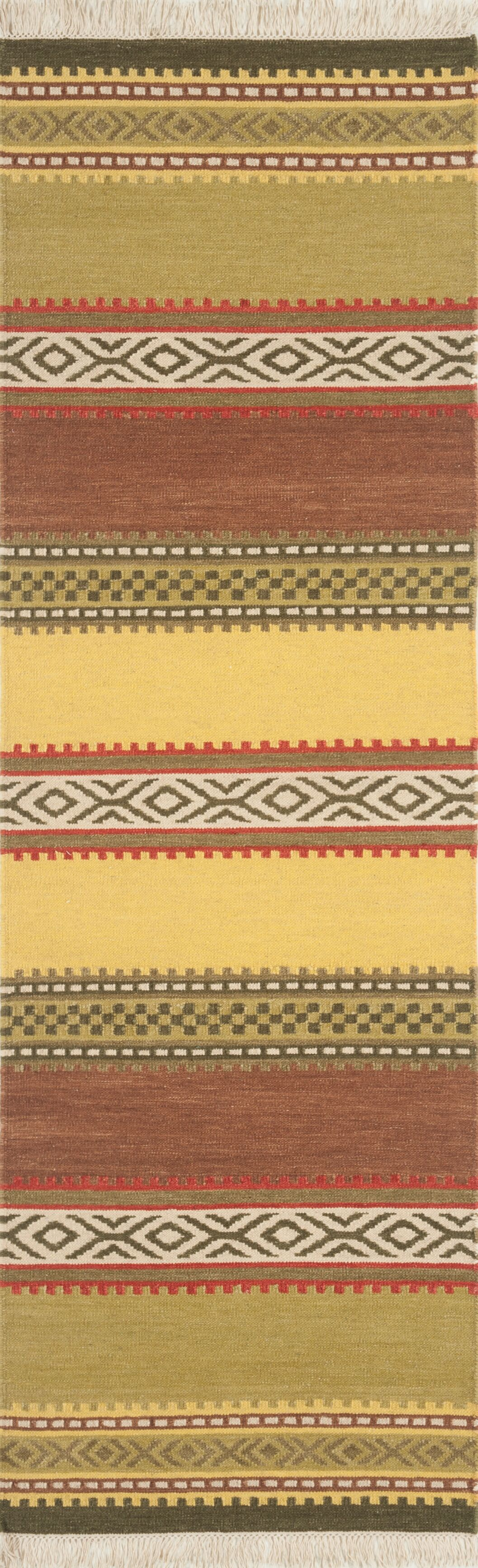 Lodge Handwoven Flatweave Wool Green Area Rug Rug Size: 8' x 10'