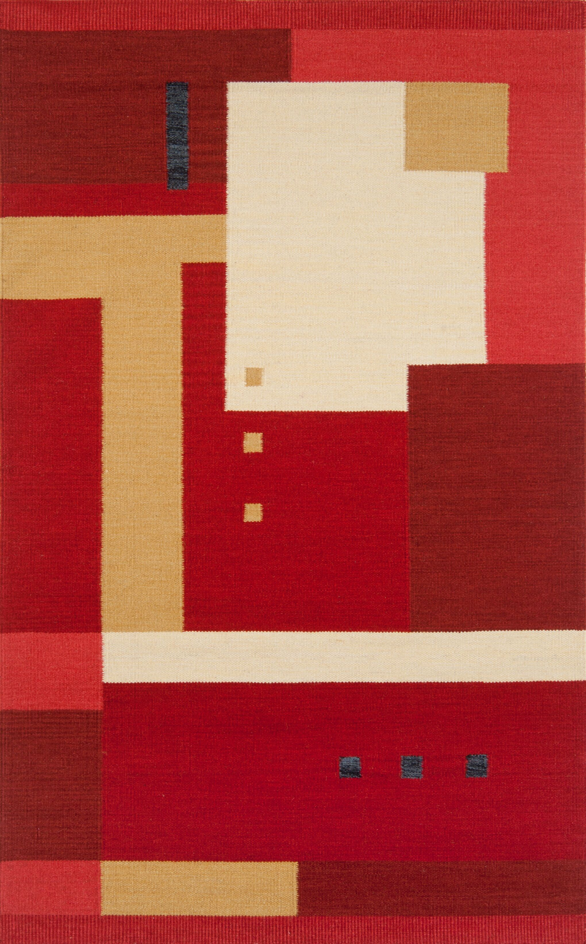 Nouveau Hand-Woven Red Area Rug Rug Size: 5' x 8'