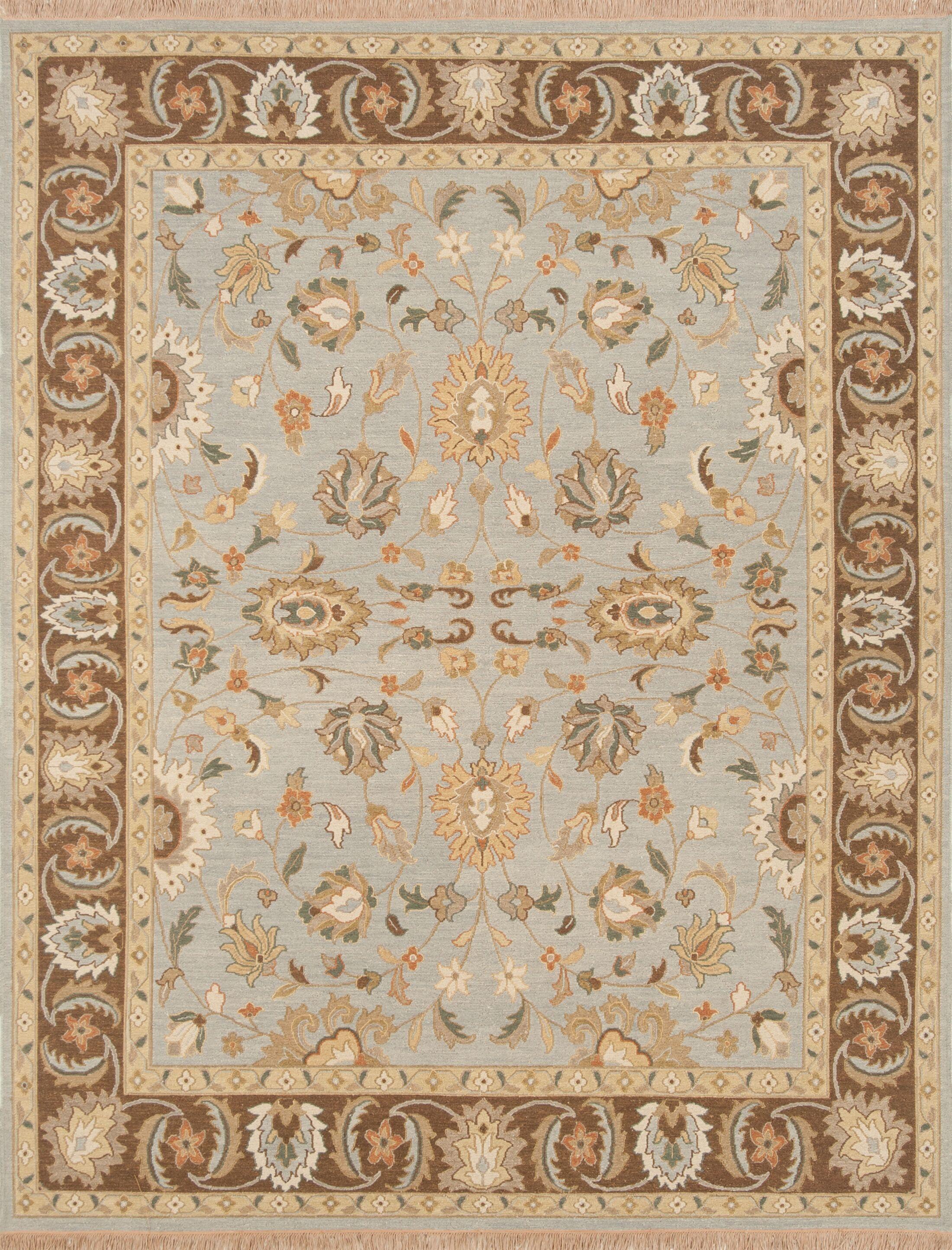 Rickey Hand Woven Wool Aqua/Brown Area Rug Size: 6' x 9'