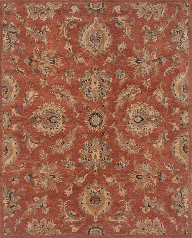 Serene Hand-Woven Wool Rust Area Rug Rug Size: Rectangle 5' x 7'6