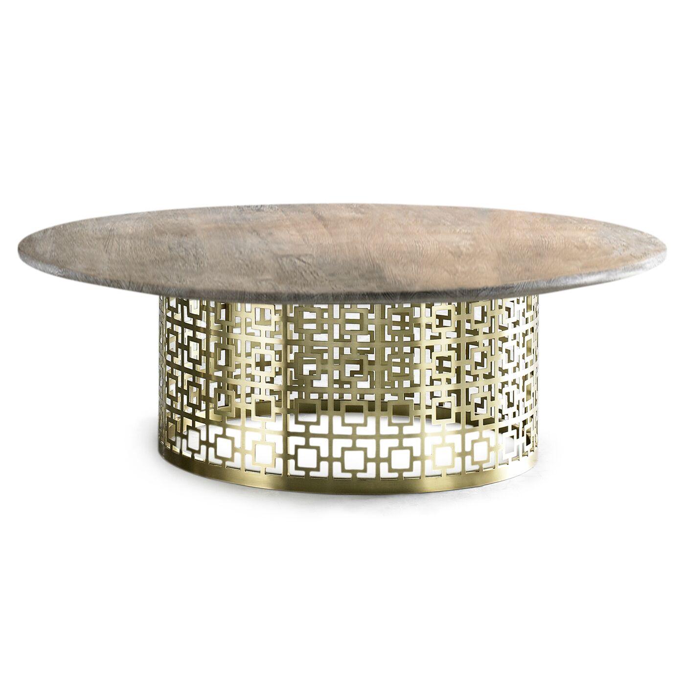 Nixon Coffee Table Base Color: Brass, Top Color: Black Marble