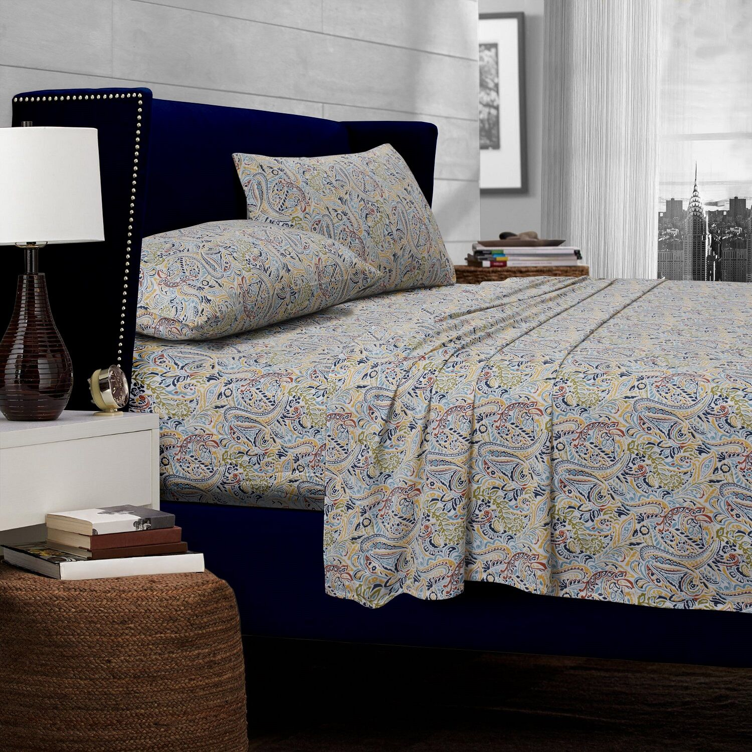 Fiji Paisley 300 Thread Count Egyptian Quality Cotton Deep Pocket Sheet Set Color: Multi, Size: King