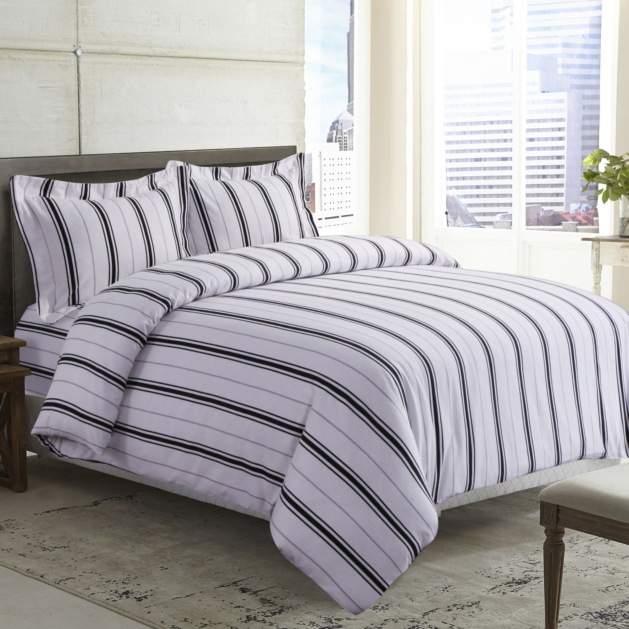 Stripe Printed Deep Pocket Flannel Sheet Set Color: Black Gray, Size: California King