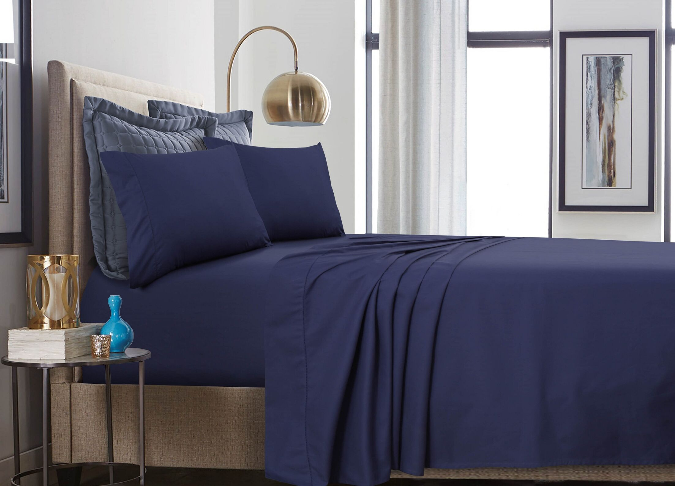 500 Thread Count 100% Cotton Percale Extra Deep Pocket Sheet Set Size: Queen, Color: Navy Blue