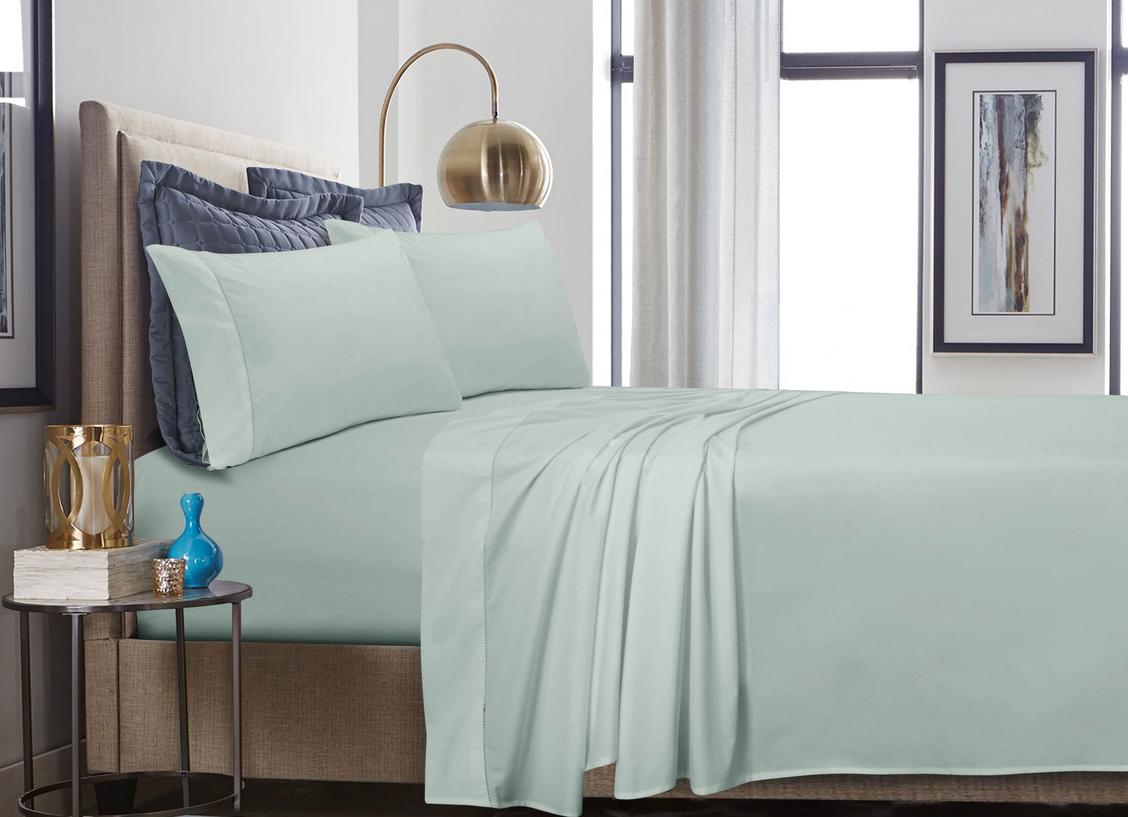 500 Thread Count 100% Cotton Percale Extra Deep Pocket Sheet Set Size: King, Color: Misty Green