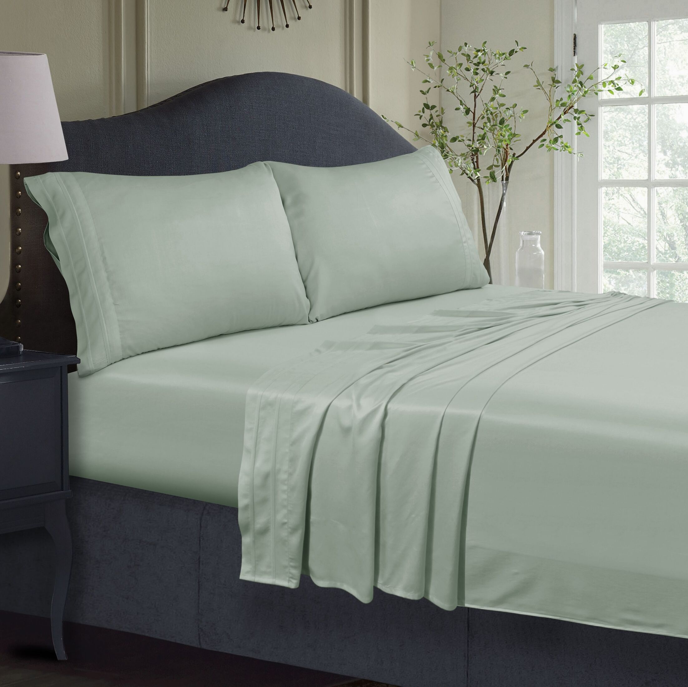 300 Thread Count Extra Deep Pocket Sheet Set Color: Sage Green, Size: Queen
