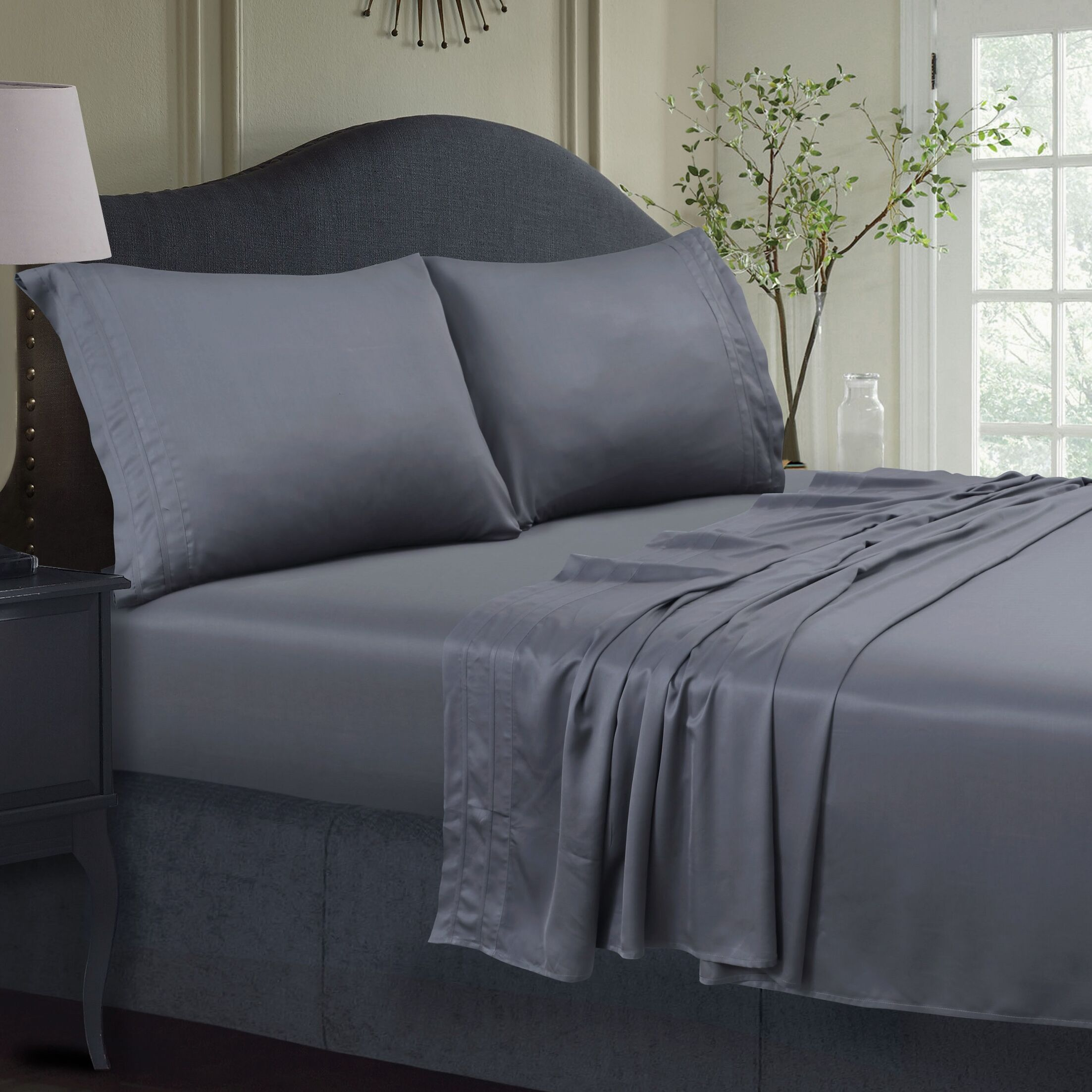 300 Thread Count Extra Deep Pocket Sheet Set Color: Steel Gray, Size: King