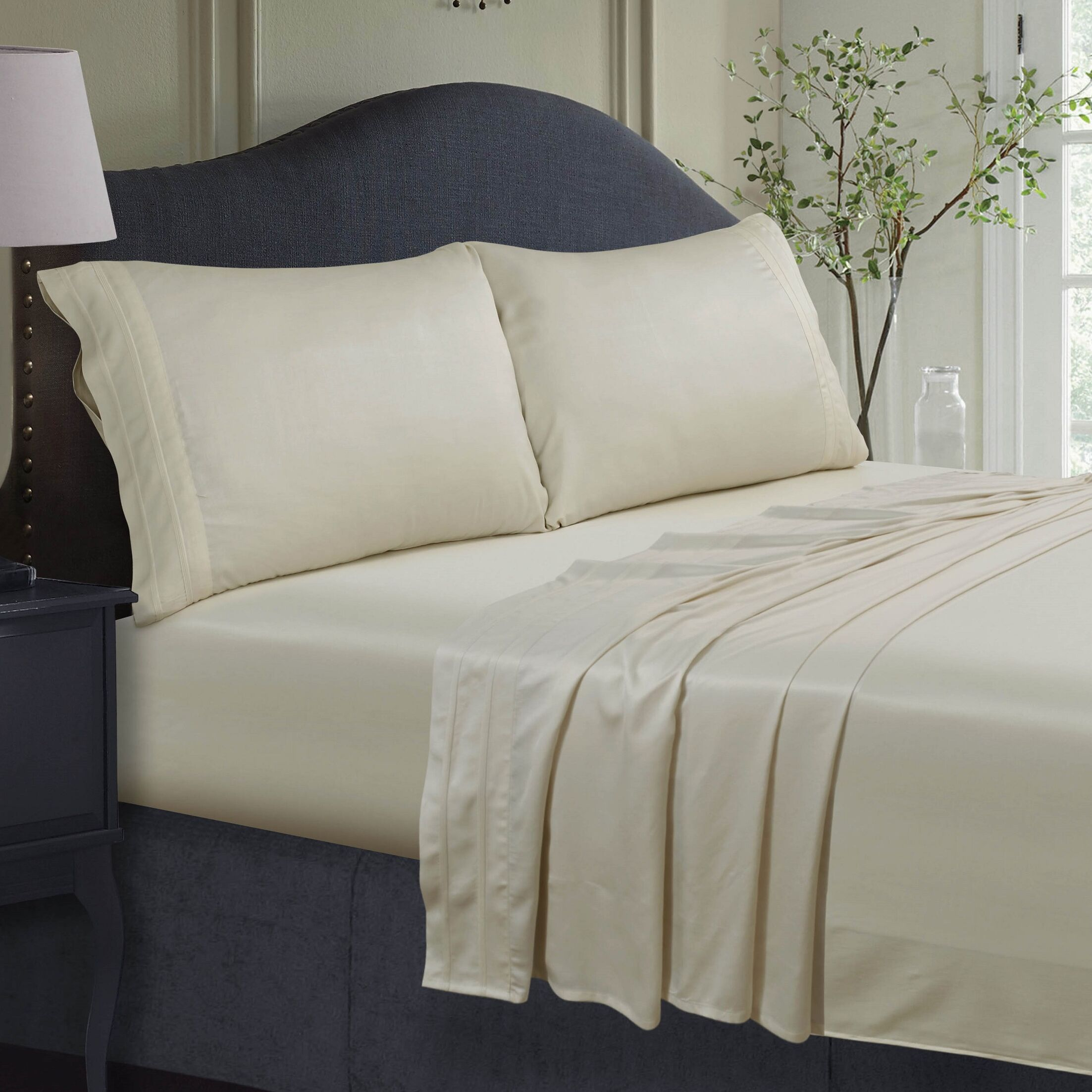 300 Thread Count Extra Deep Pocket Sheet Set Color: Ivory, Size: Full
