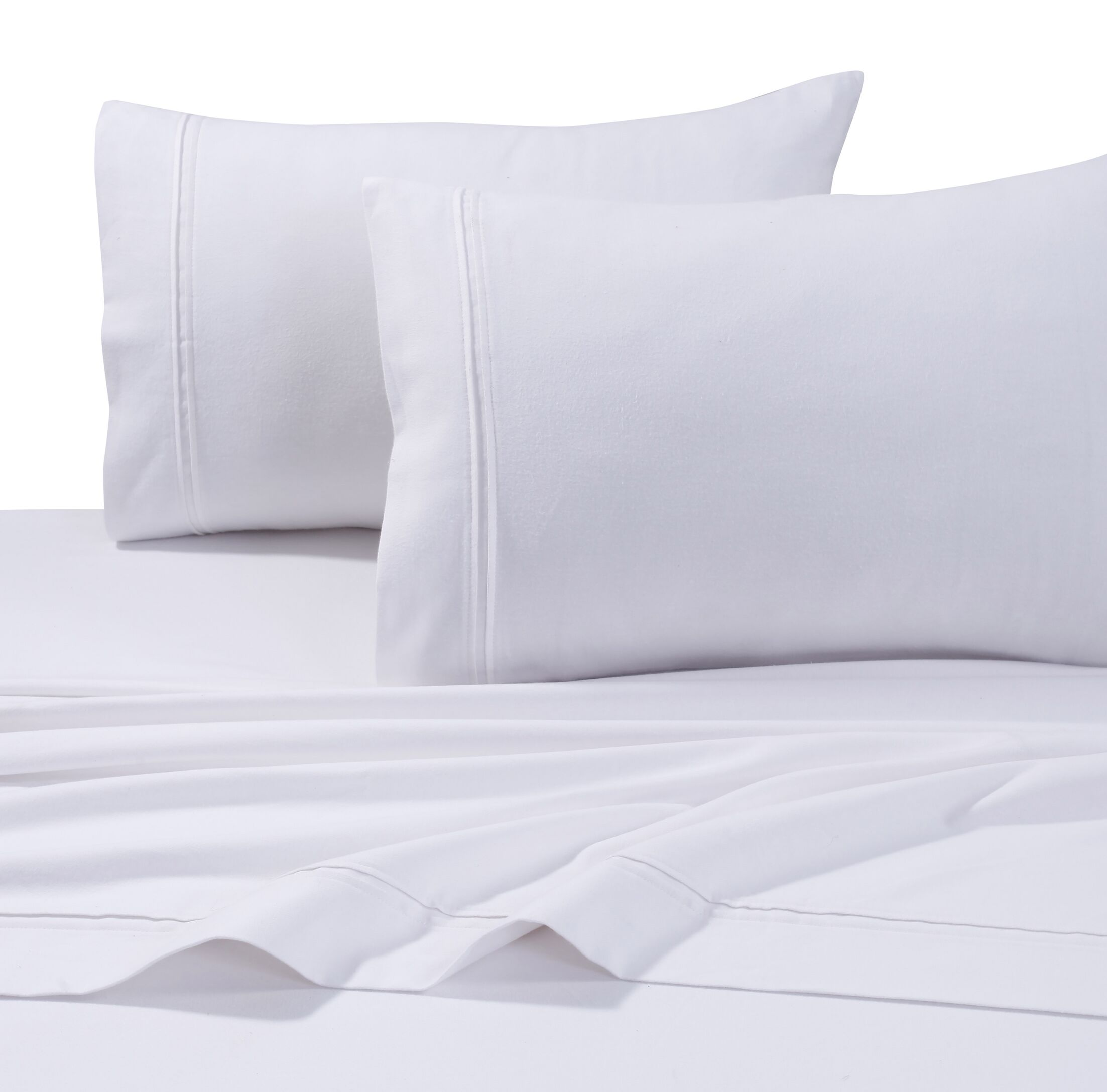 4 Piece Flannel Sheet Set Size: King, Color: White