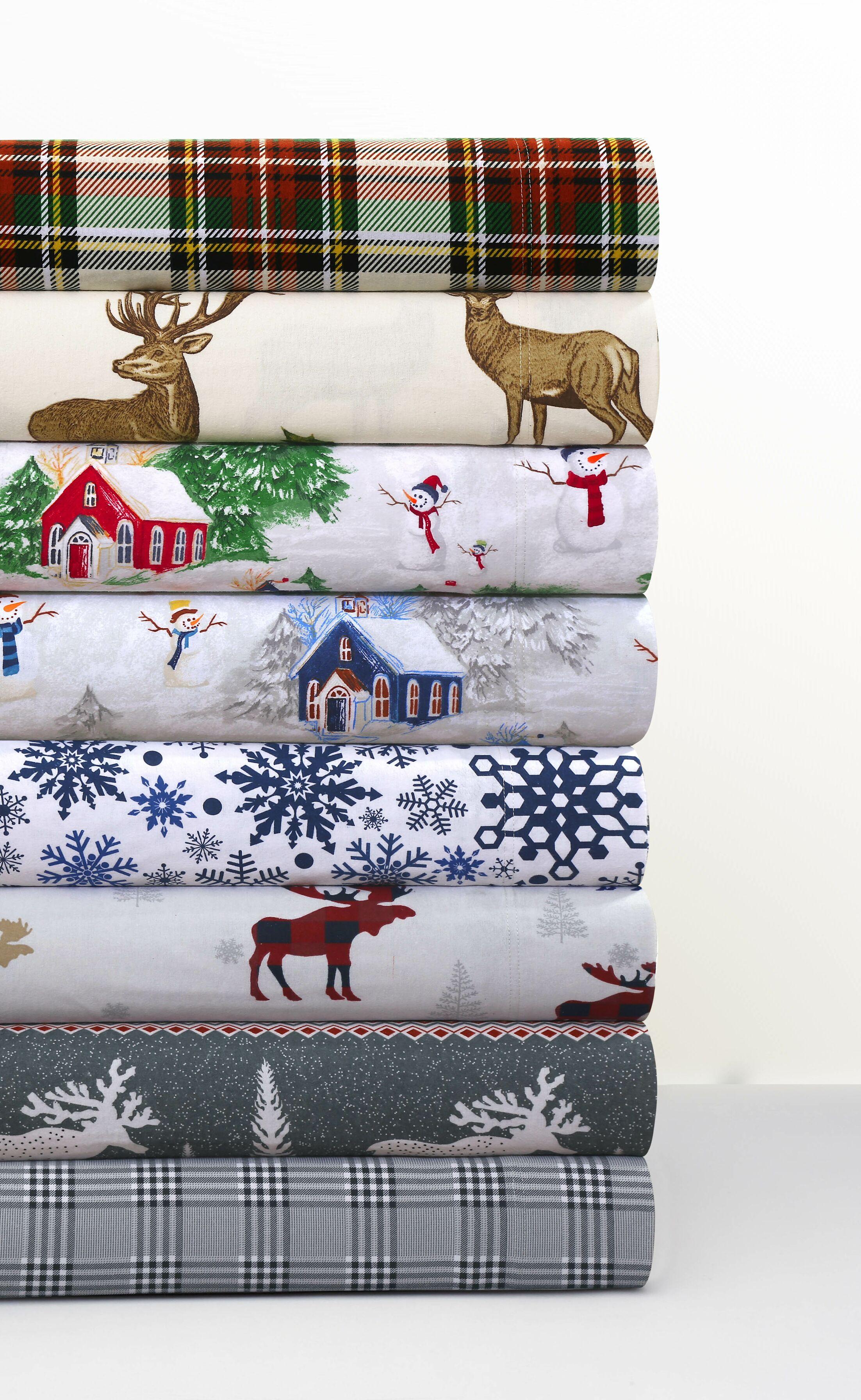 Moose Reindeer 170-GSM Printed Flannel Extra Deep Pocket 100% Cotton Sheet Set Size: Queen