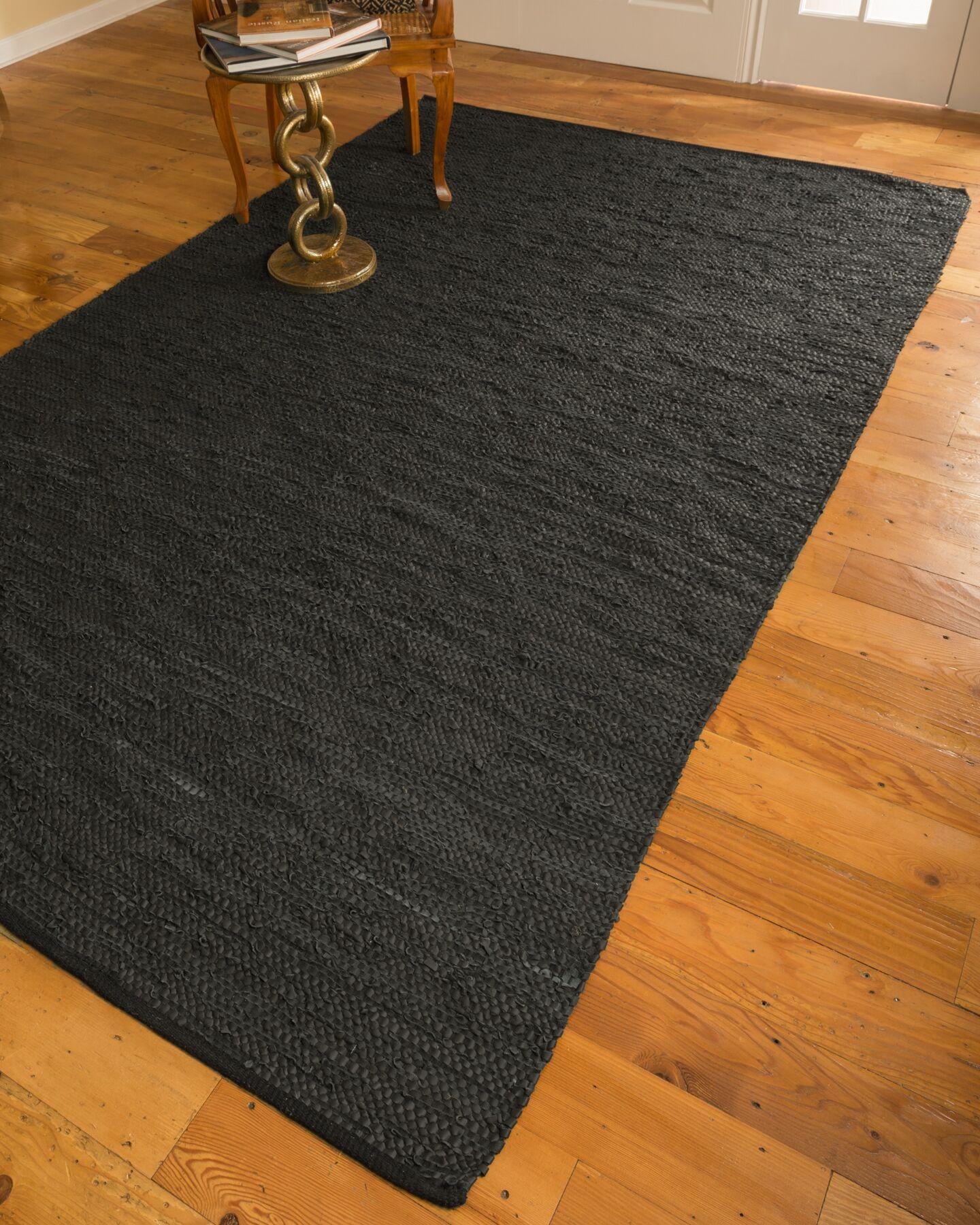 Hand-Loomed Black Area Rug Rug Size: Rectangle 6' x 9'