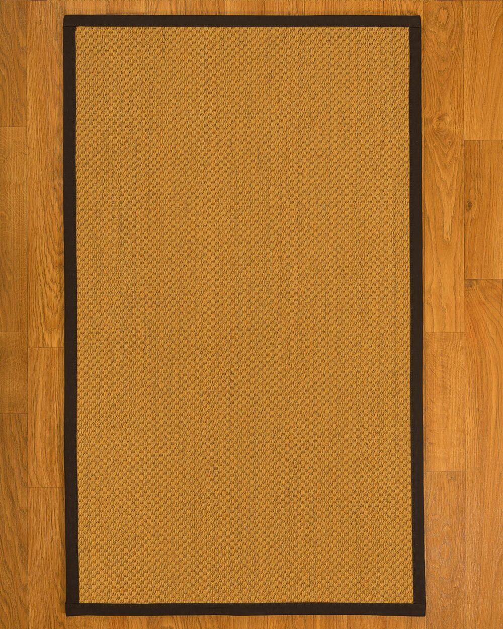 AuroraHand Woven Rustic Fiber Sisal Brown/Fudge Area Rug with Rug Pad Rug Size: Rectangle 5' x 8'