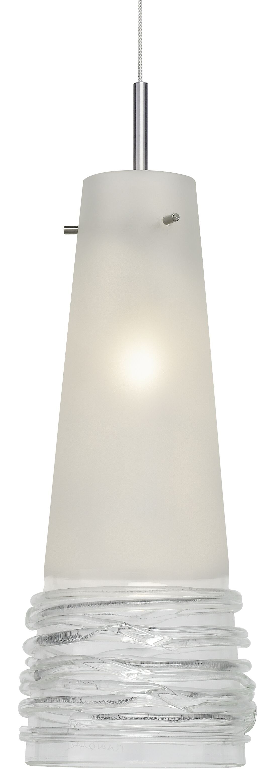 Fili 1-Light Cone Pendant Finish: Satin Nickel, Shade Color: Satin with Clear, Canopy Style: Flat Round with Transformer