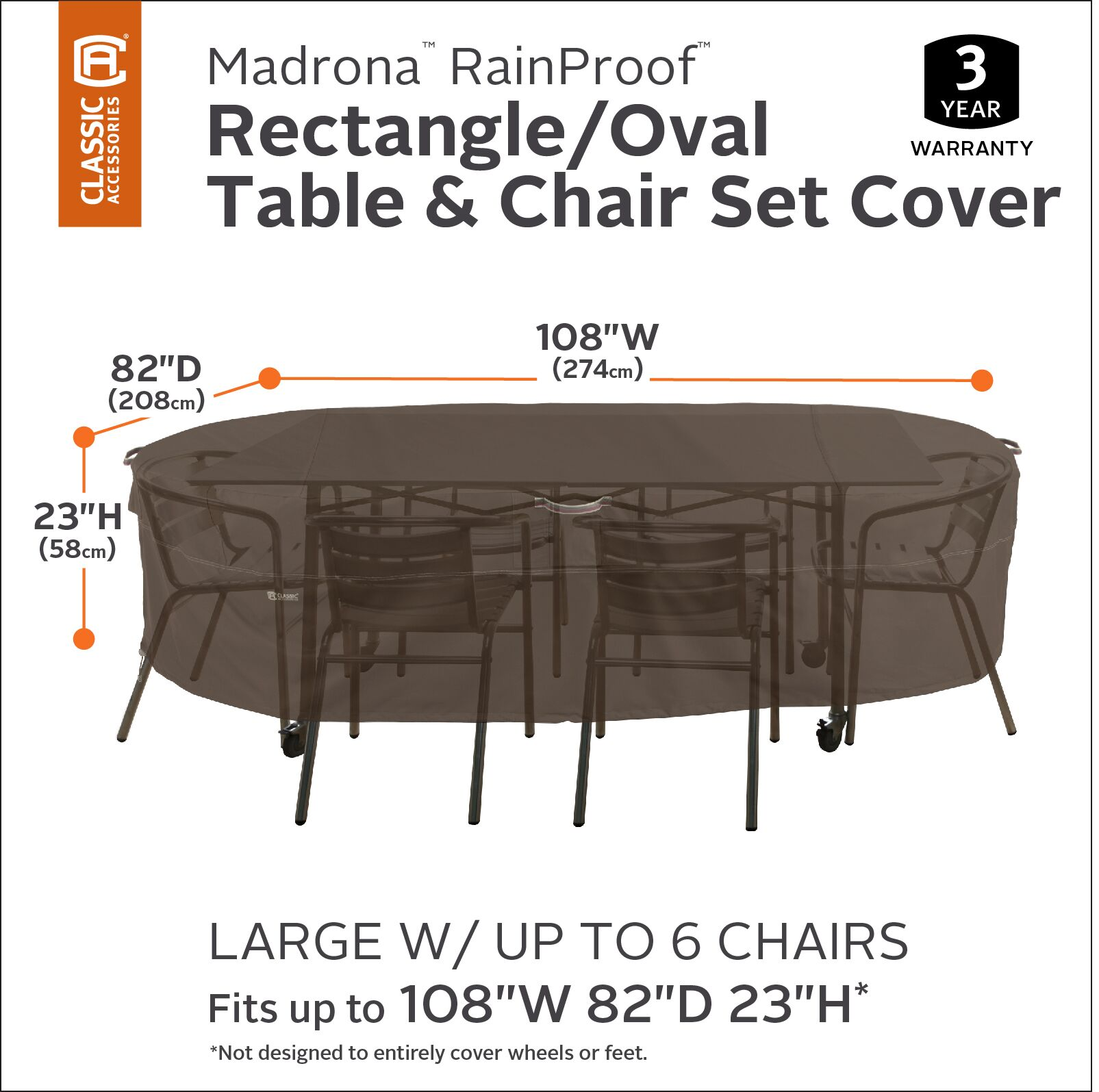 Madrona Rain Proof Rectangular/Oval Patio Dining Set Cover Size: 24