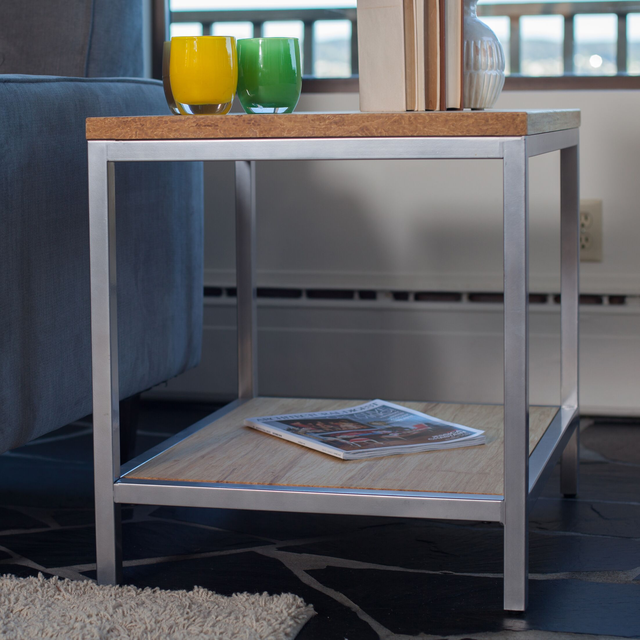 Betances Steel Framed Bamboo Side Table Color: Timber