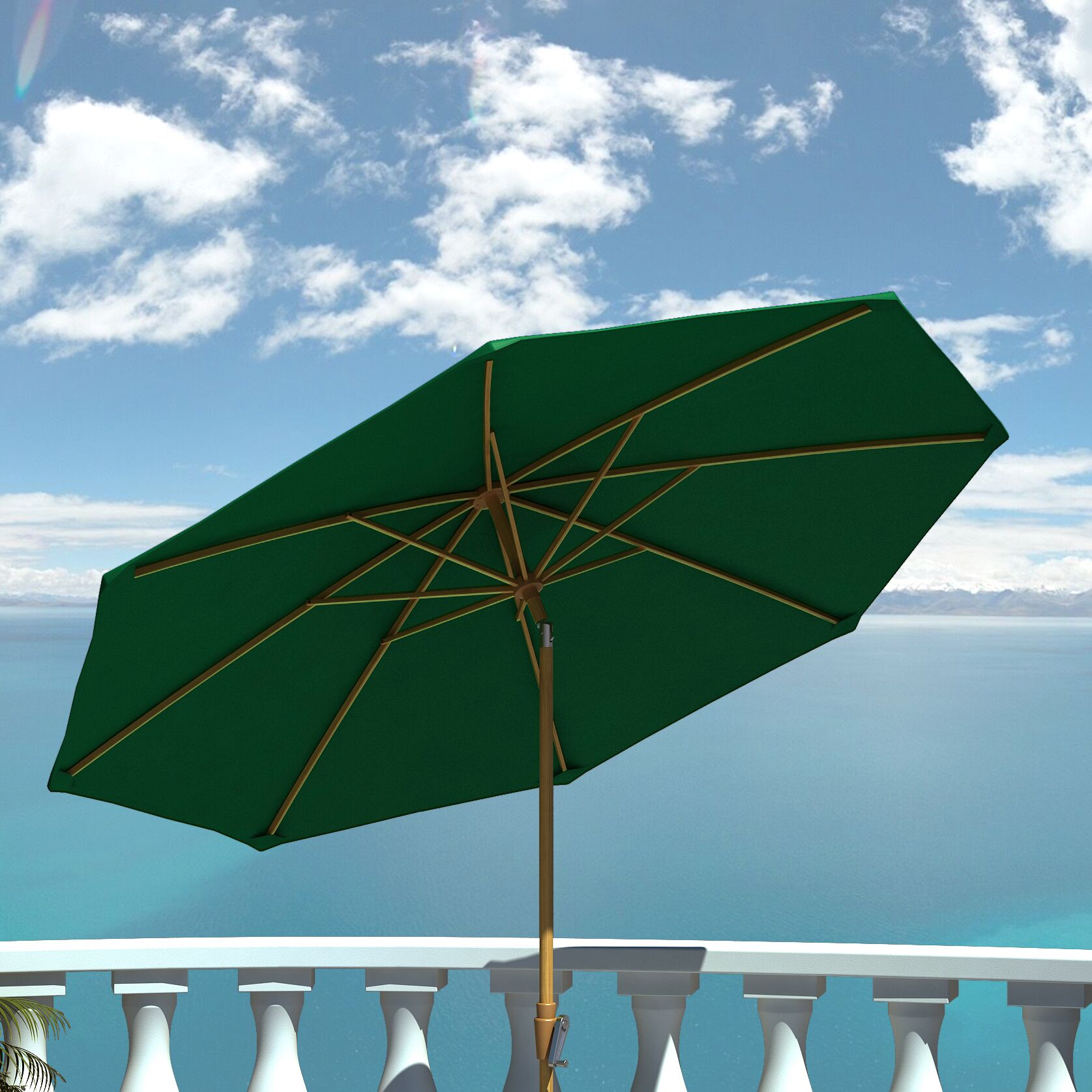 9' Market Umbrella Fabric: Hunter Green