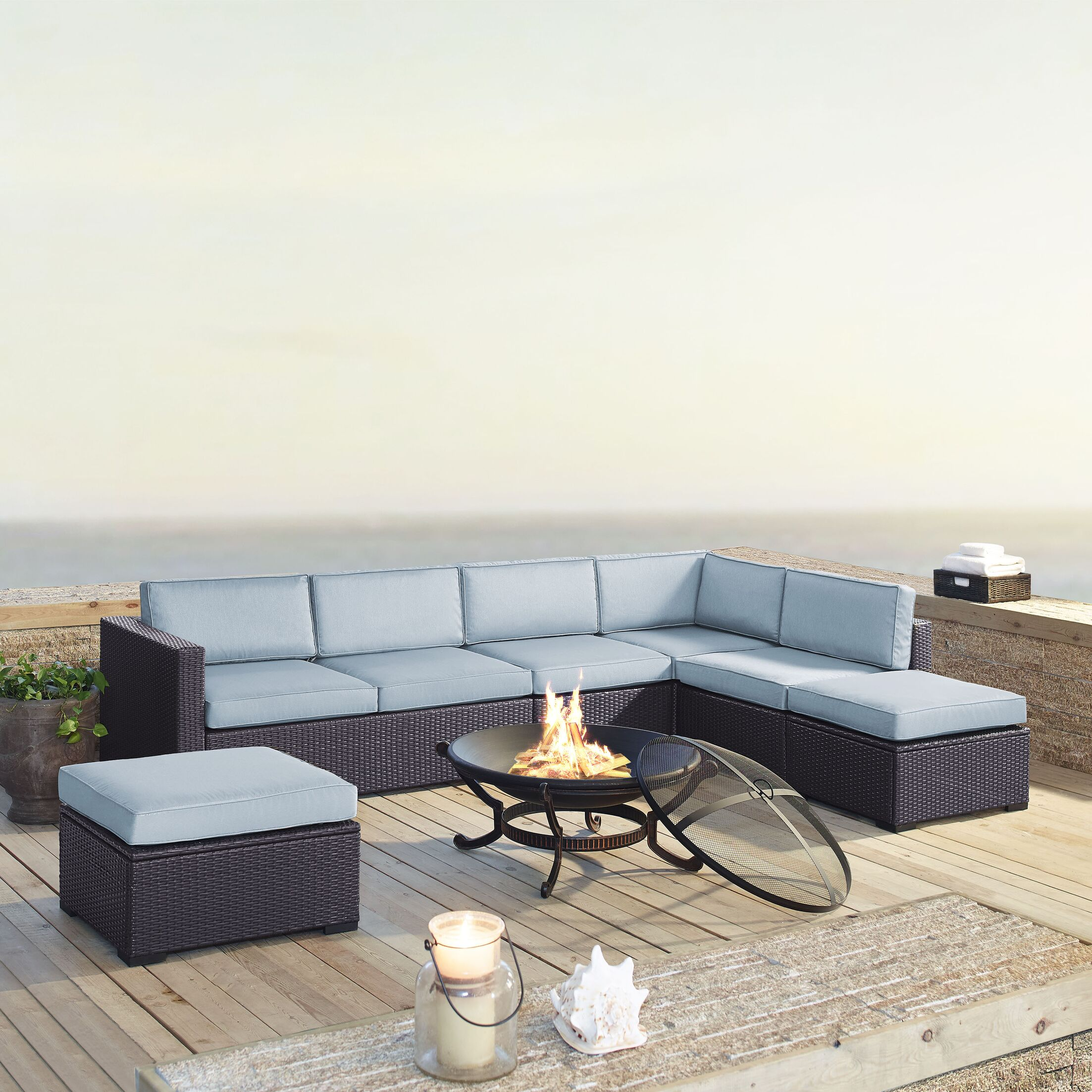 Dinah 6 Piece Sectional Set with Cushions Fabric: Mist