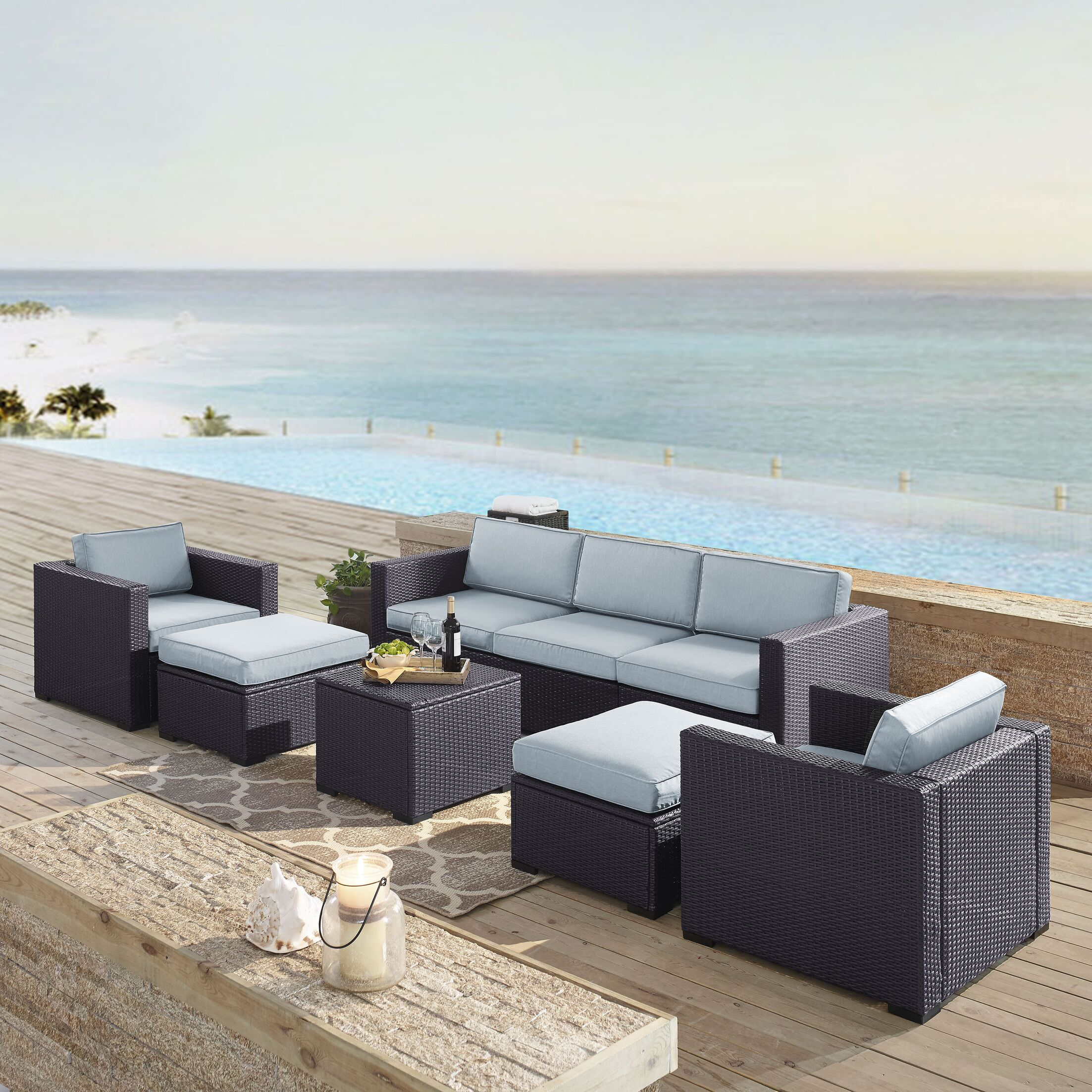 Dinah 7 Piece Sectional Set with Cushions Fabric: Mist
