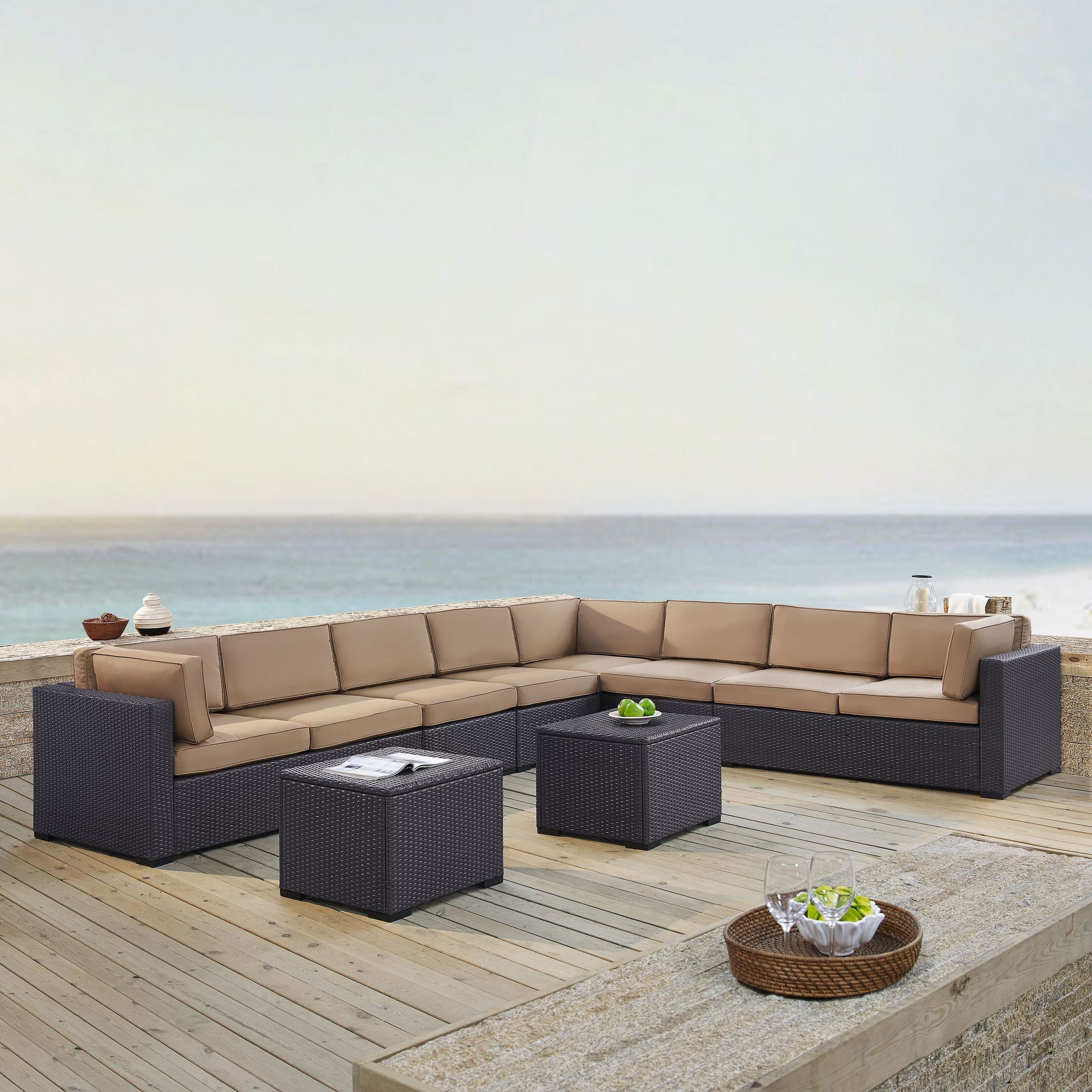 Dinah 6 Piece Sectional Set with Cushions Fabric: Mocha