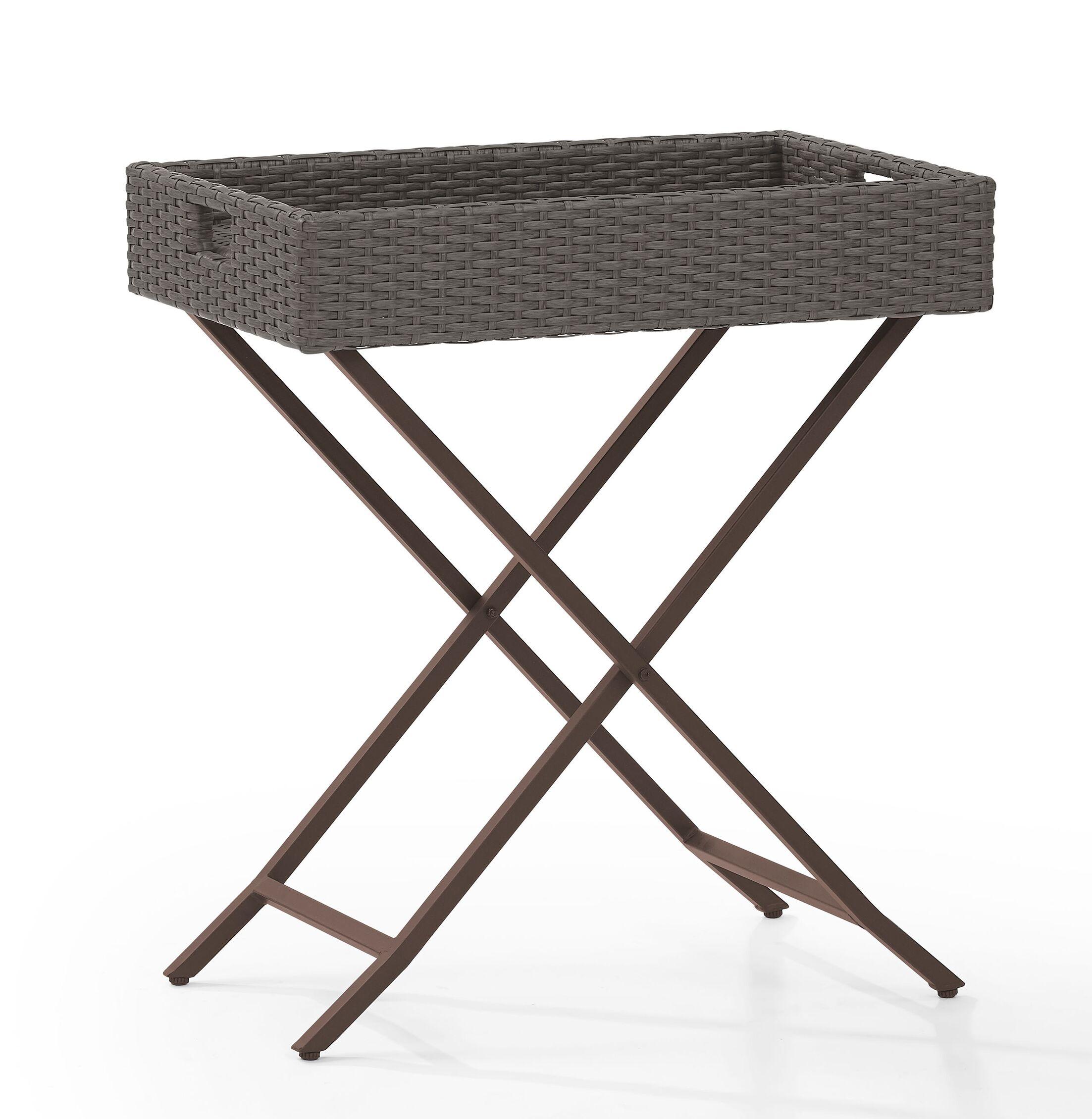 Brandy Tray Folding Wicker Bistro Table