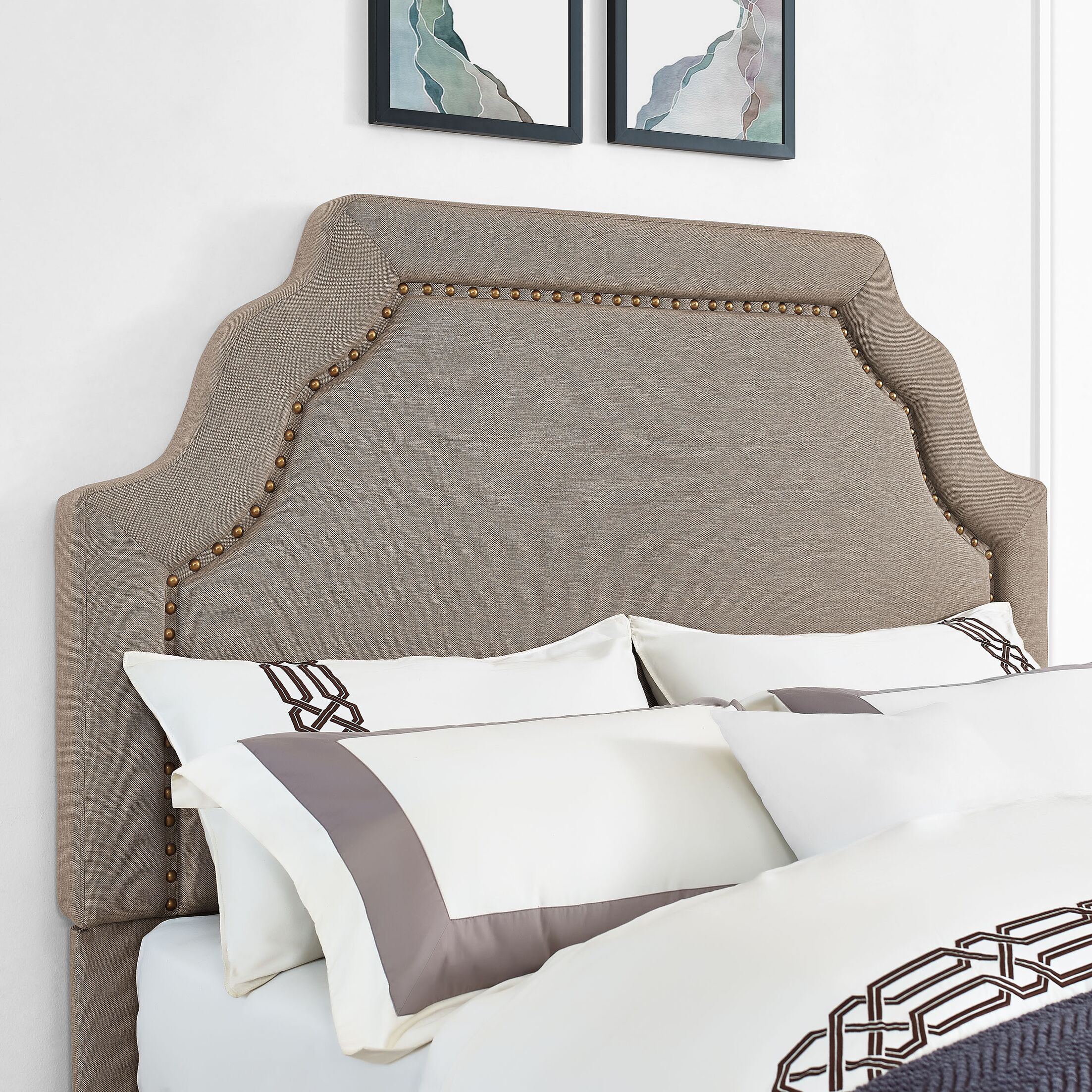 Stearns Upholstered Panel Headboard Color: Oatmeal, Size: Queen