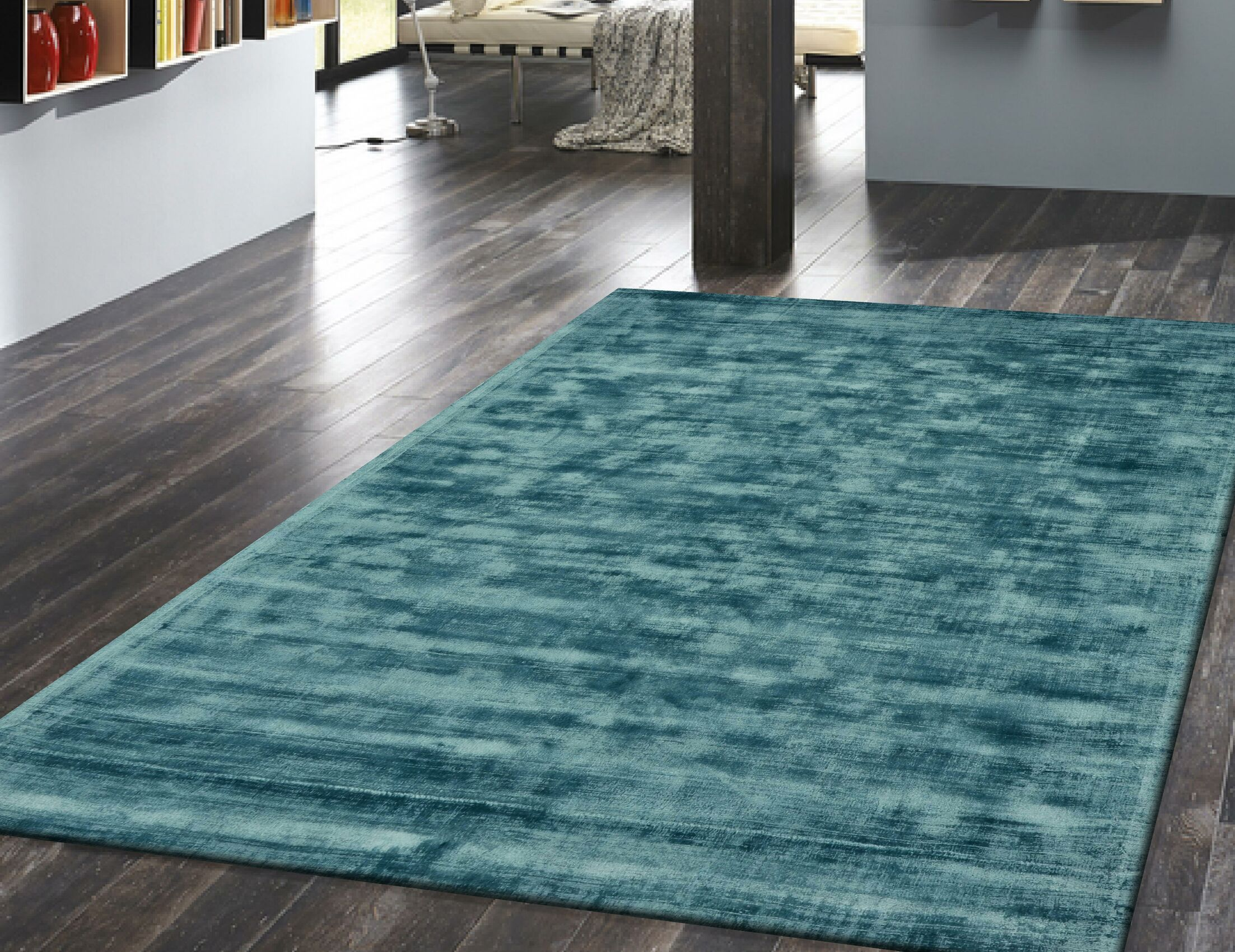 Antique Hand-Woven Teal Area Rug Rug Size: 6'7