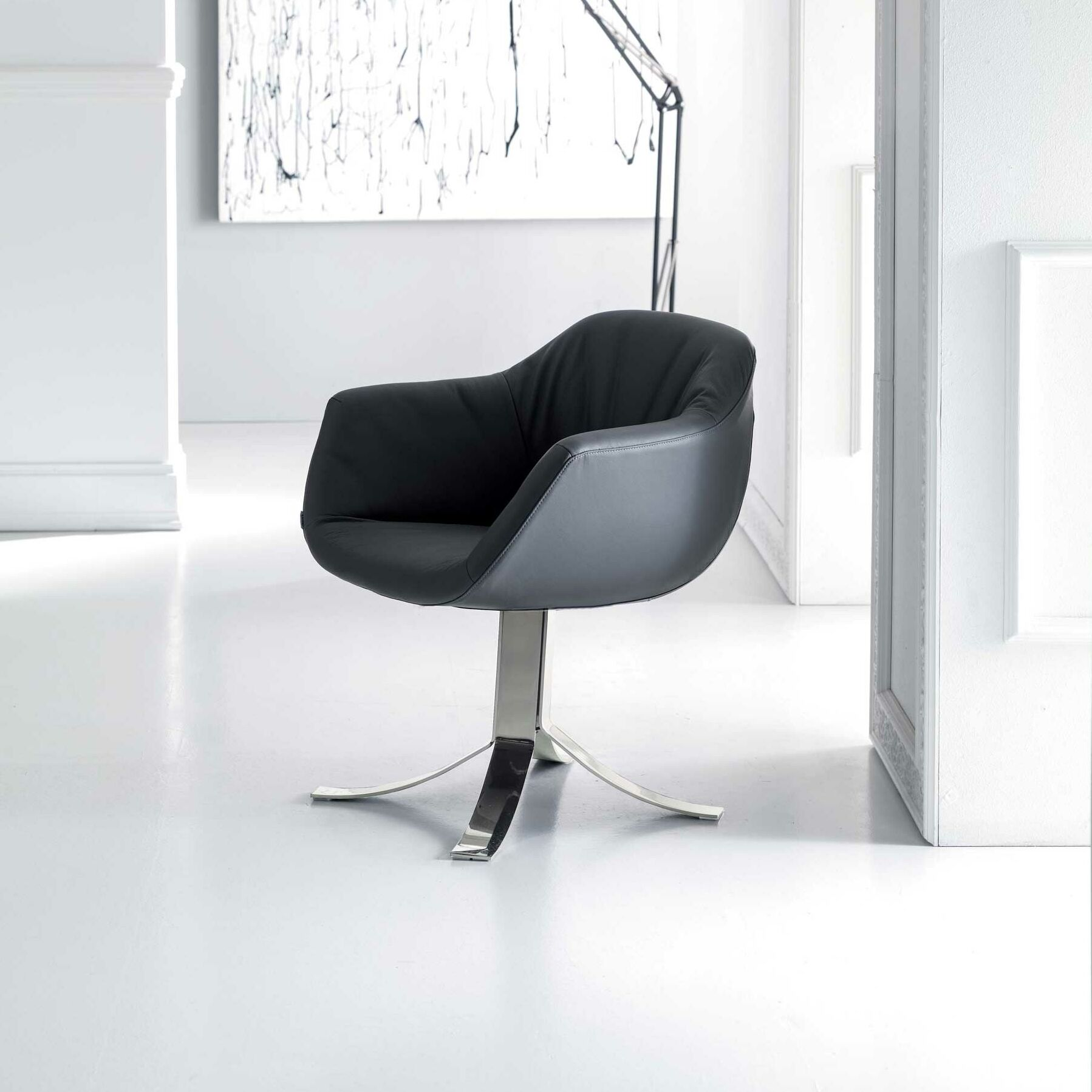Nelly Swivel Armchair Upholstery: Coffee Cream