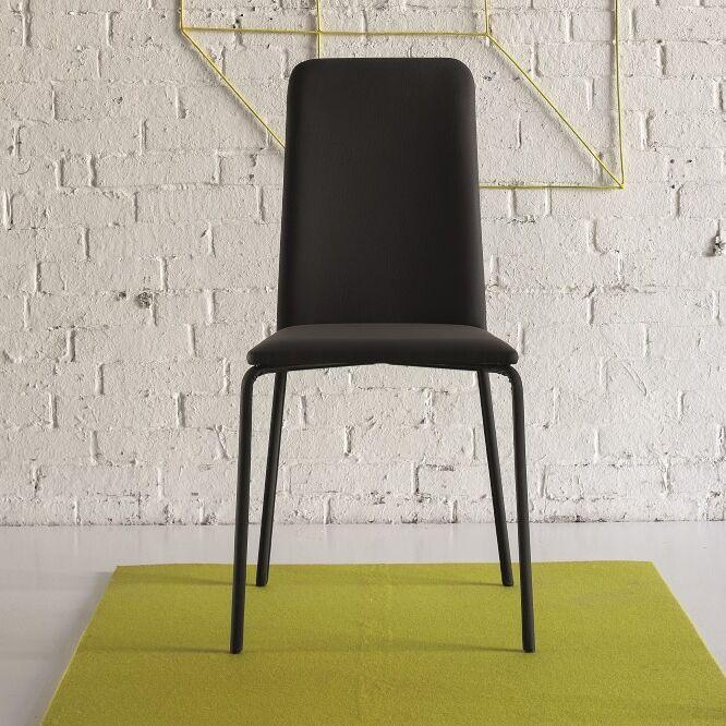 Gigi Genuine Leather Upholstered Dining Chair Color: Black