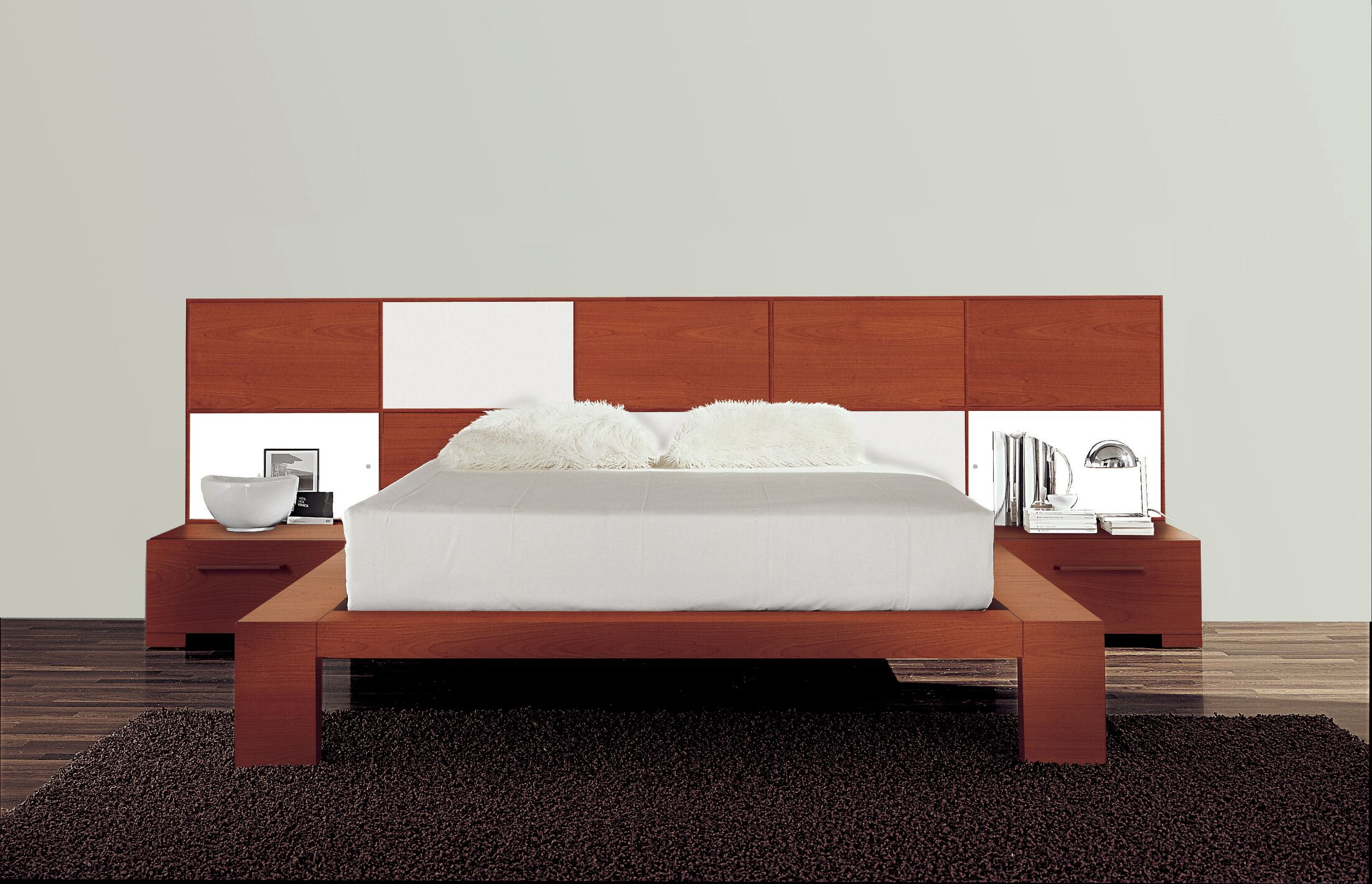 Wynd Platform Bed Size: California King, Color: High Gloss White/Cherry