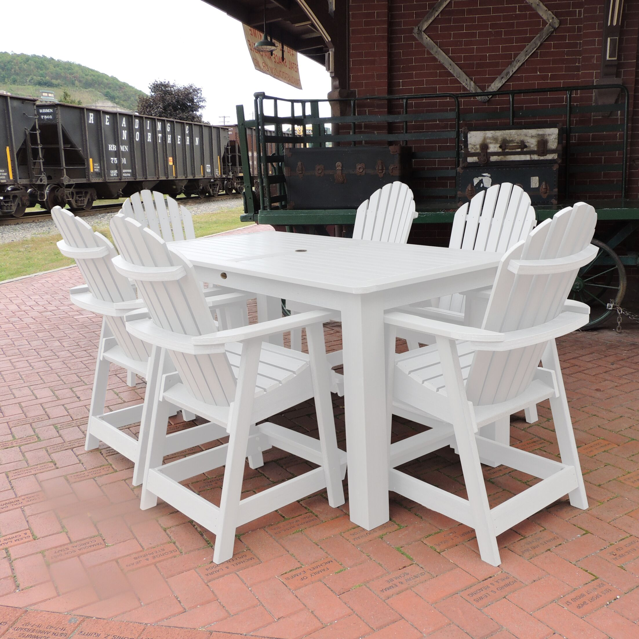 Deerpark 7 Piece Counter Height Dining Set Finish: White