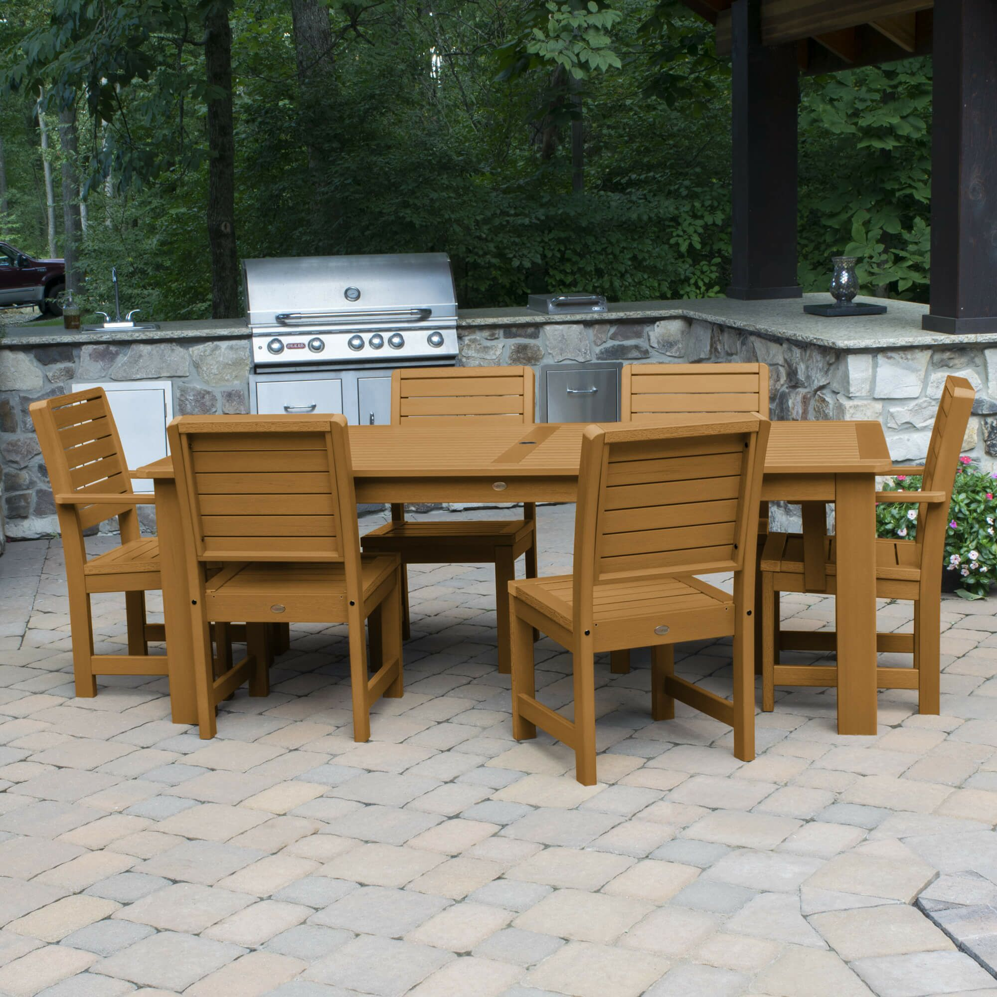 Shondra 7 Piece Rectangular Dining Set Color: Toffee, Table Top Size: 37'' H x 55.5'' W x 98.5'' L